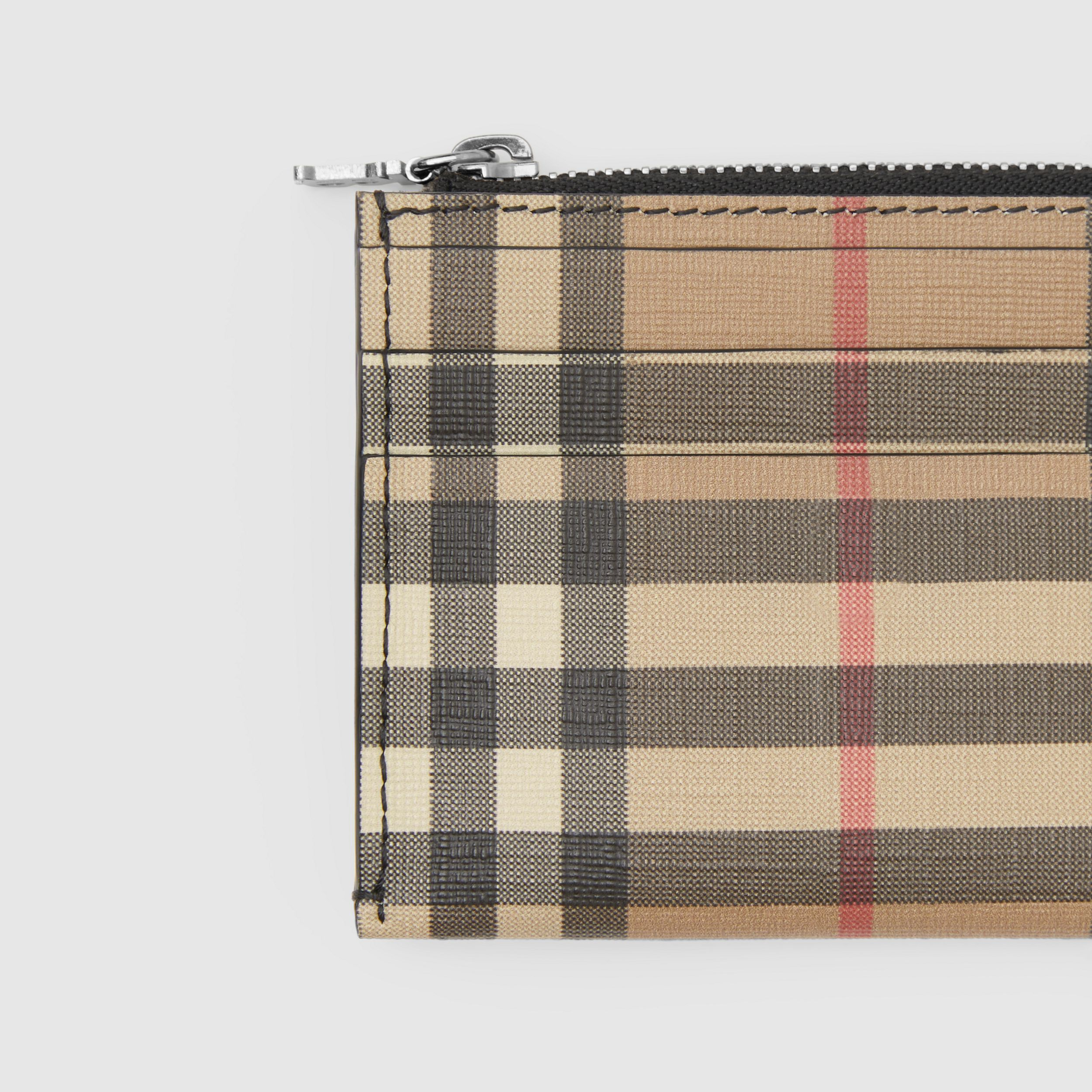 Vintage Check and Leather Zip Card Case in Black - Women | Burberry - 2