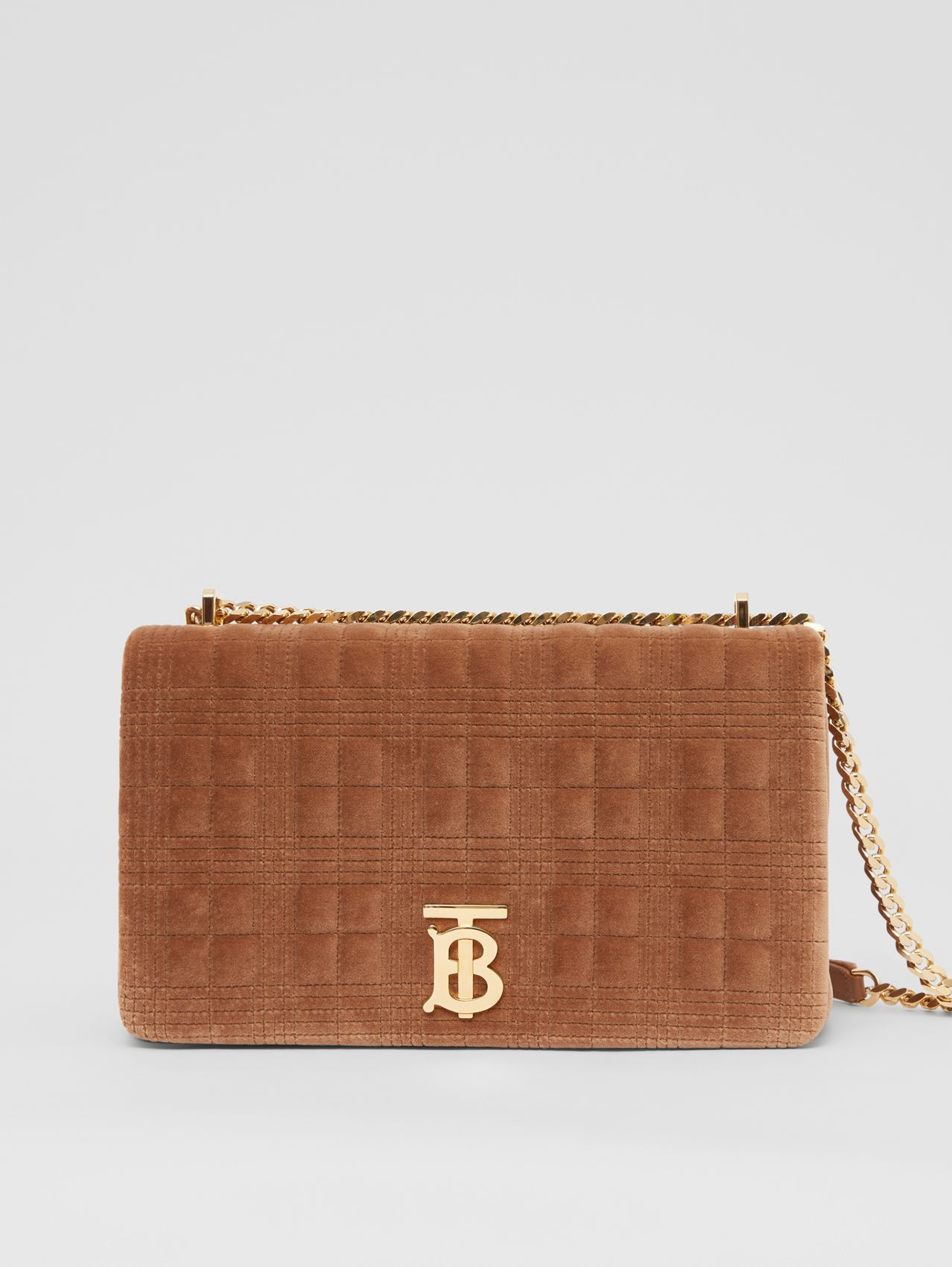 Medium Quilted Velvet Lola Bag in Fawn