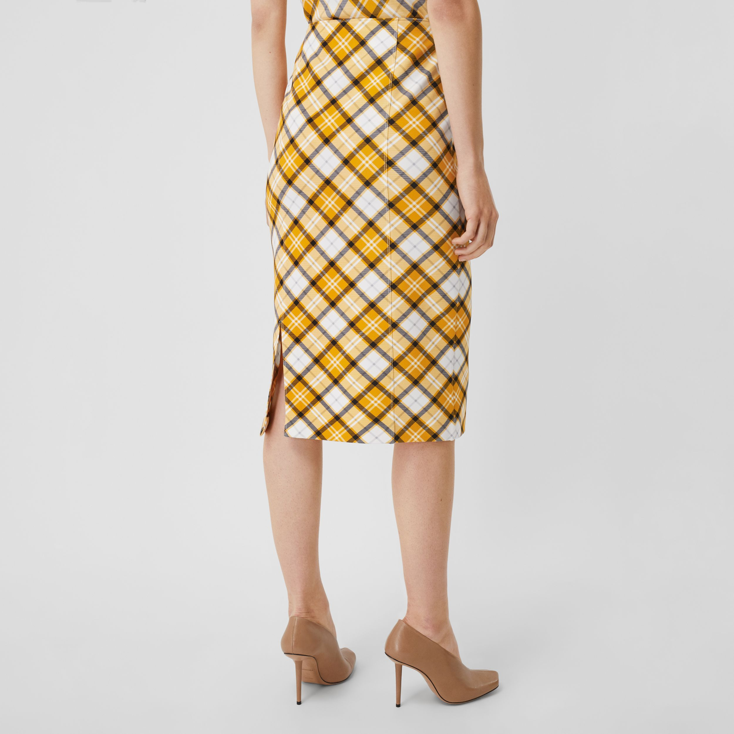 Check Print Stretch Jersey Pencil Skirt in Citrus Orange - Women | Burberry - 3