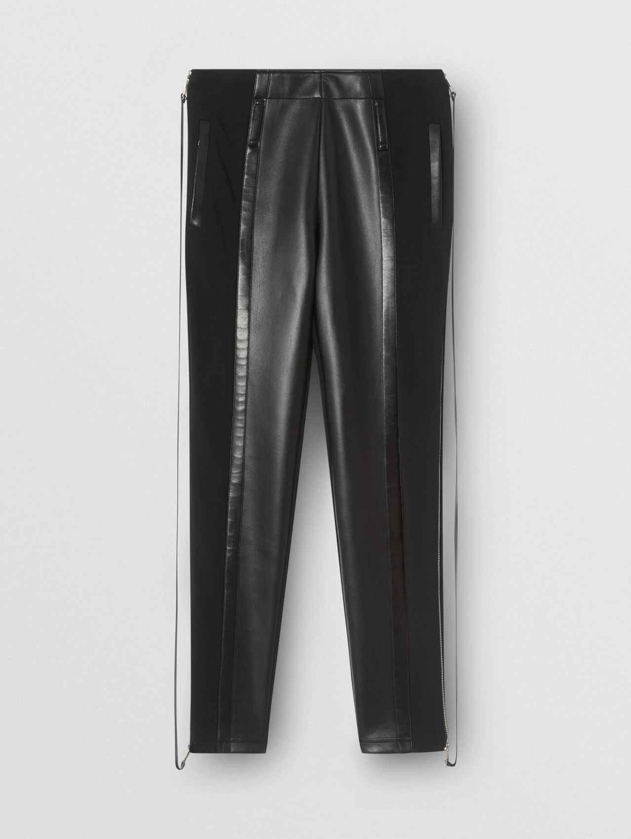Zip Detail Stretch Crepe Jersey Leggings