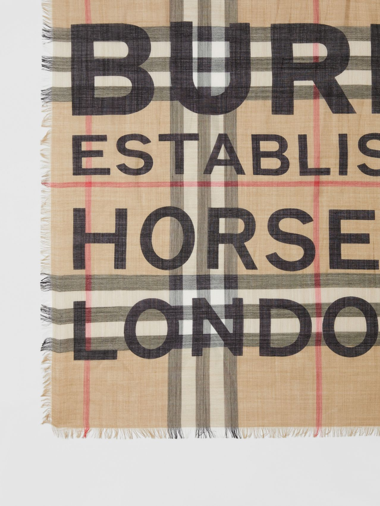 Horseferry Print Check Wool Silk Large Square Scarf in Archive Beige