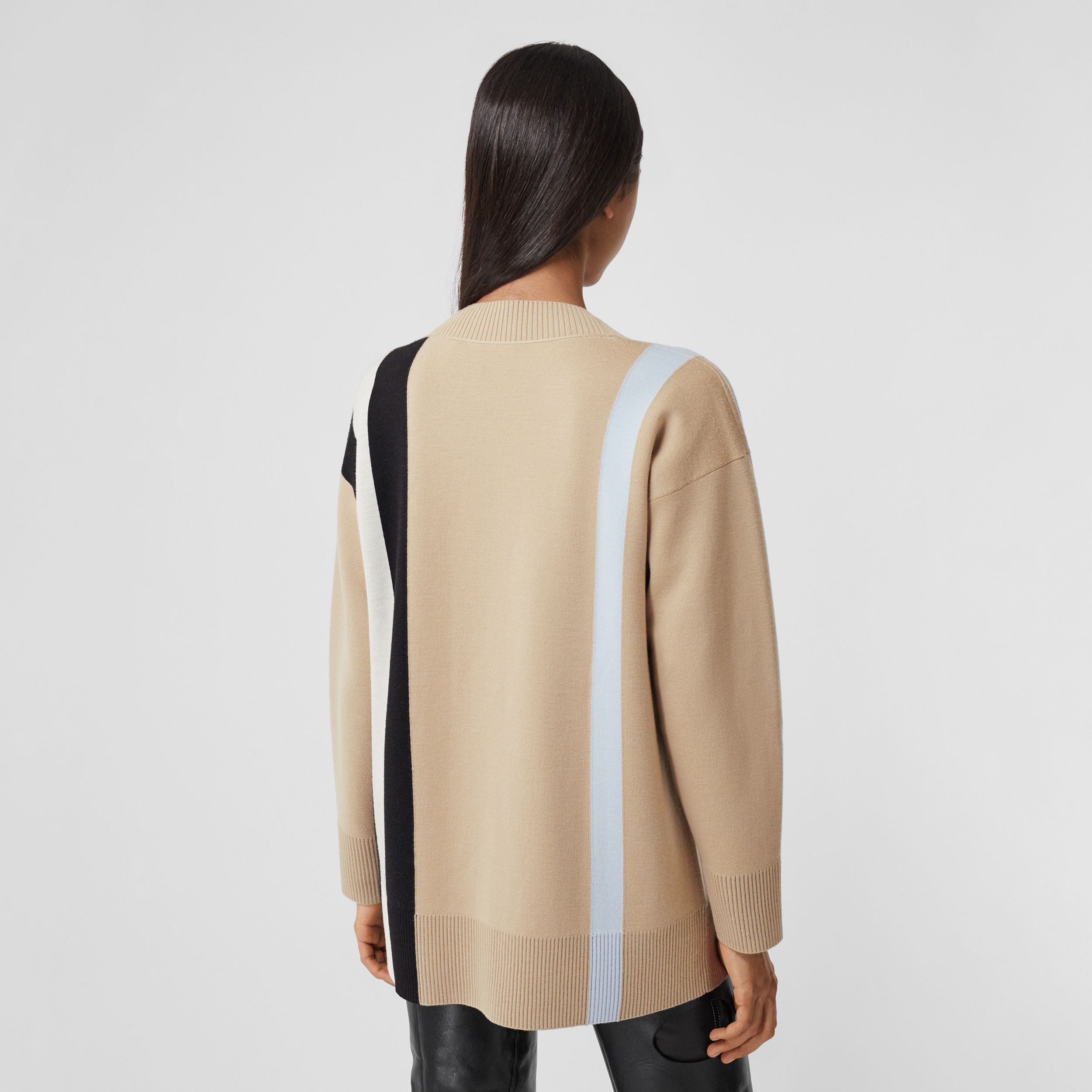Logo Merino Wool Blend Jacquard Cardigan in Soft Fawn - Women | Burberry - 3