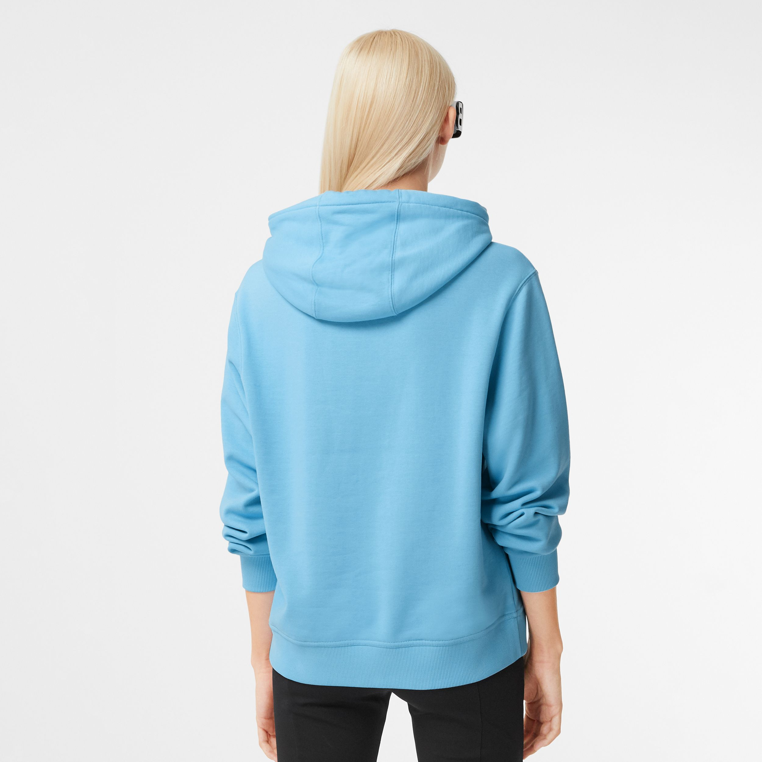 Logo Graphic Cotton Oversized Hoodie in Blue Topaz - Women | Burberry - 3