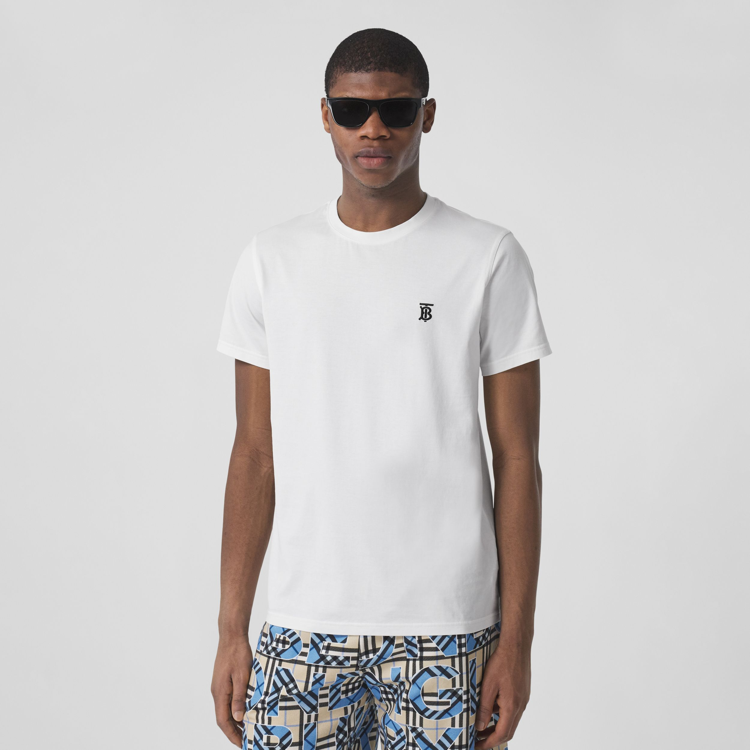 Monogram Motif Cotton T-shirt in White - Men | Burberry United Kingdom - 1