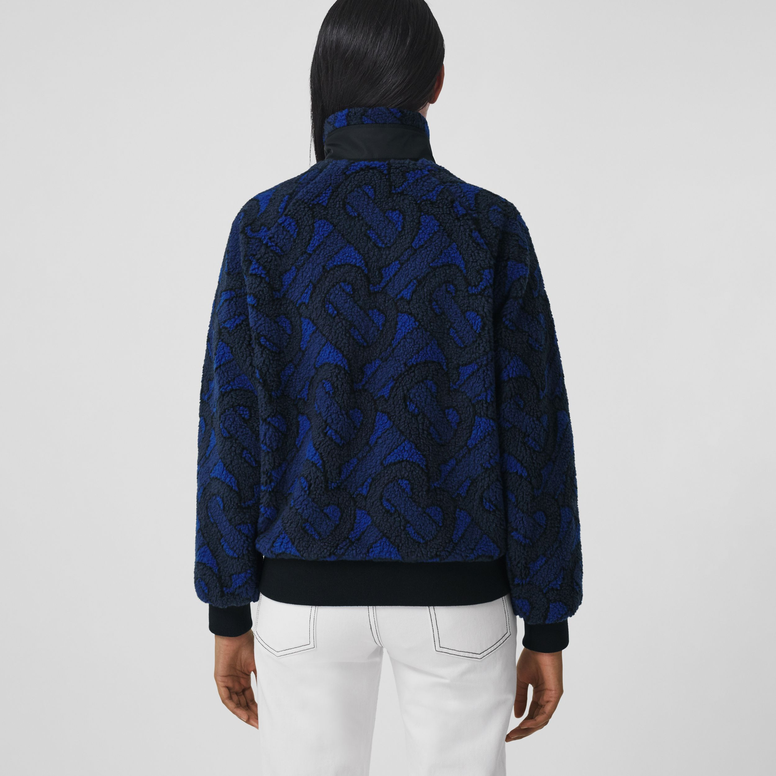 Monogram Fleece Jacquard Jacket in Navy - Women | Burberry - 3