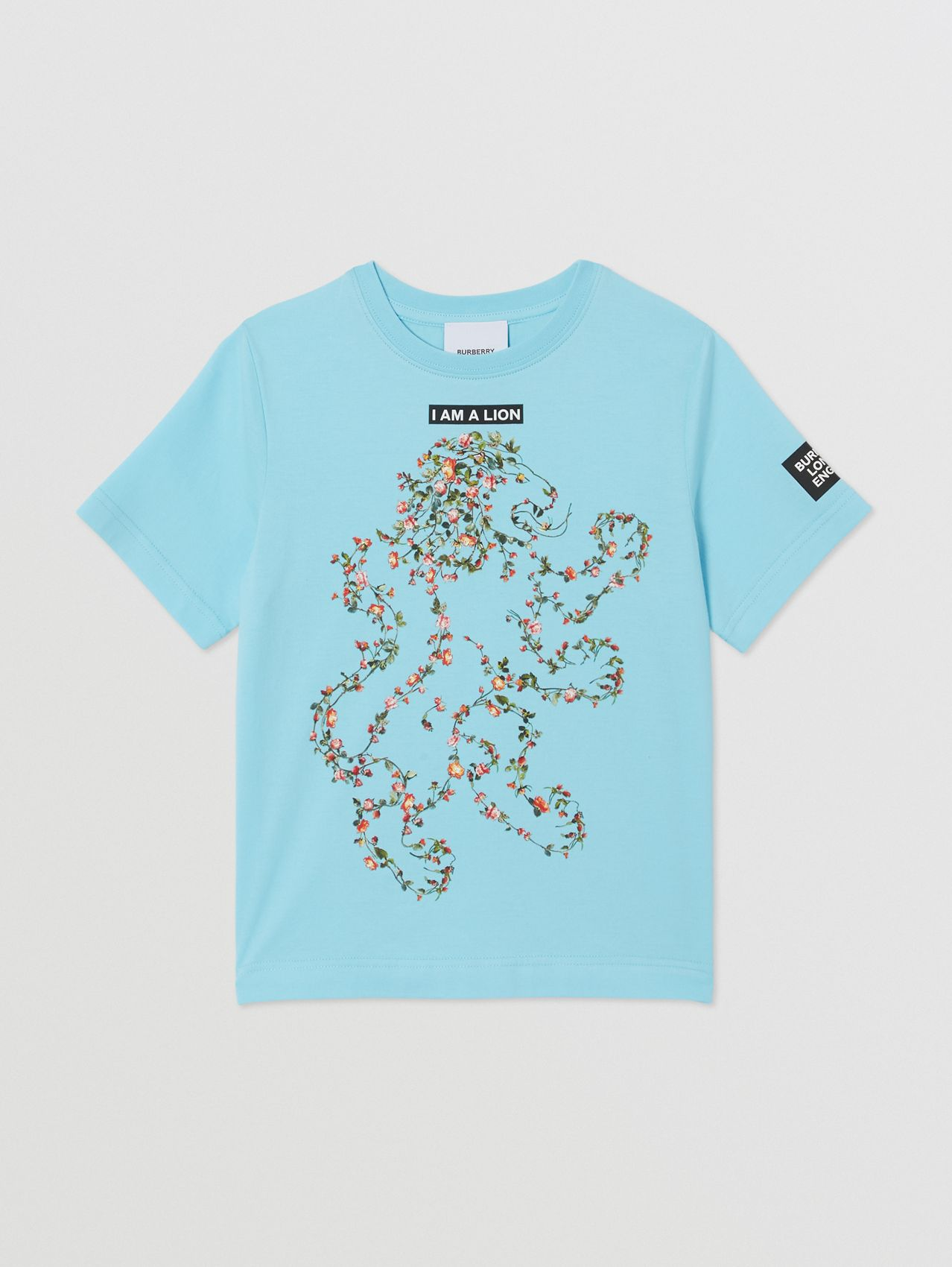 Montage Print Cotton T-shirt in Pale Turquoise