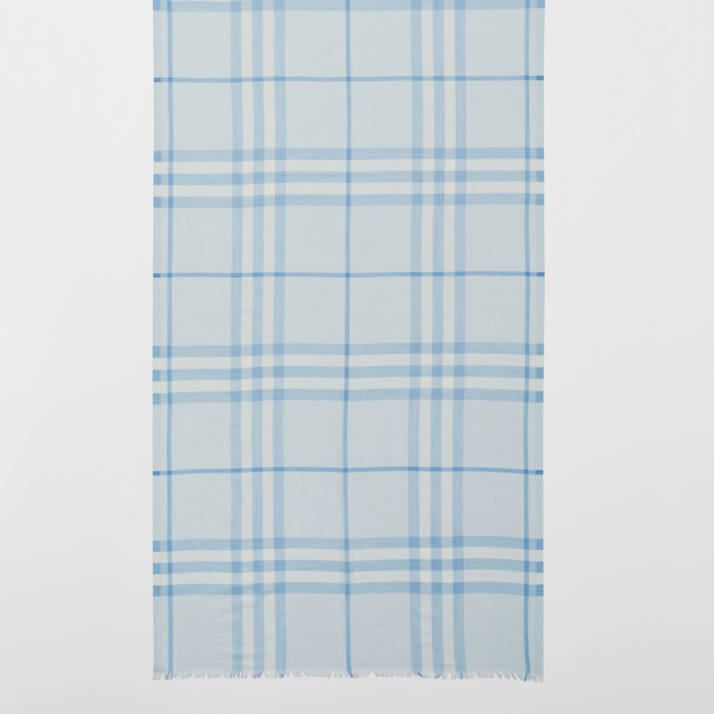 Lightweight Check Wool Silk Scarf | Burberry - 3