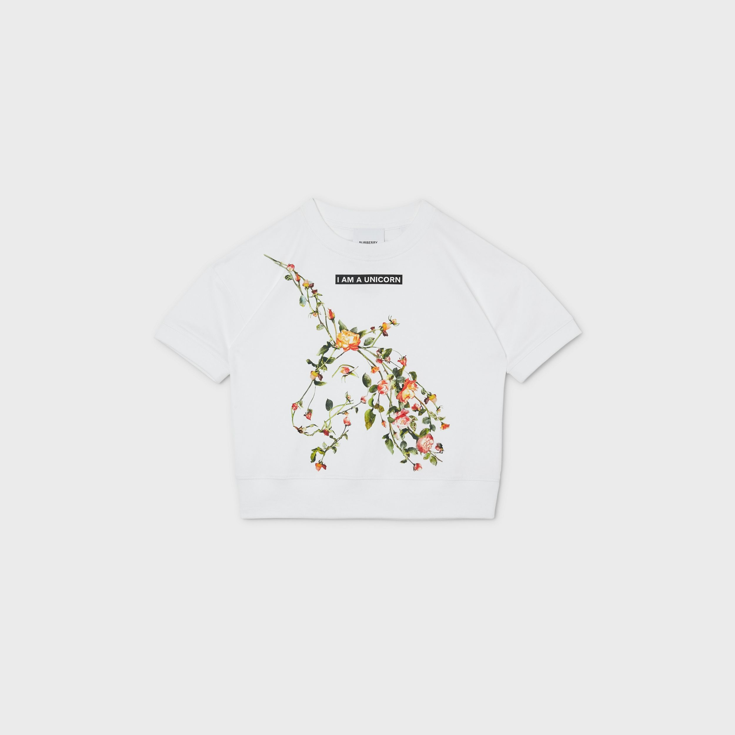 Montage Print Cotton T-shirt in White | Burberry - 1