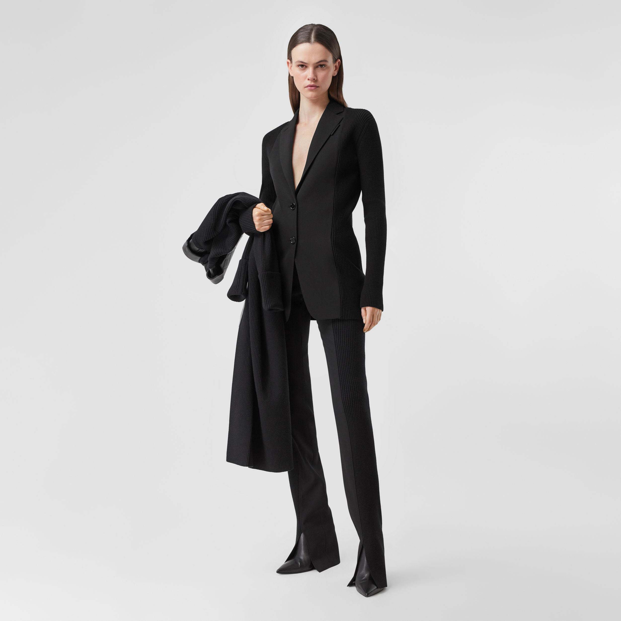 Rib Kit Panel Grain De Poudre Wool Tailored Jacket in Black - Women | Burberry - 1