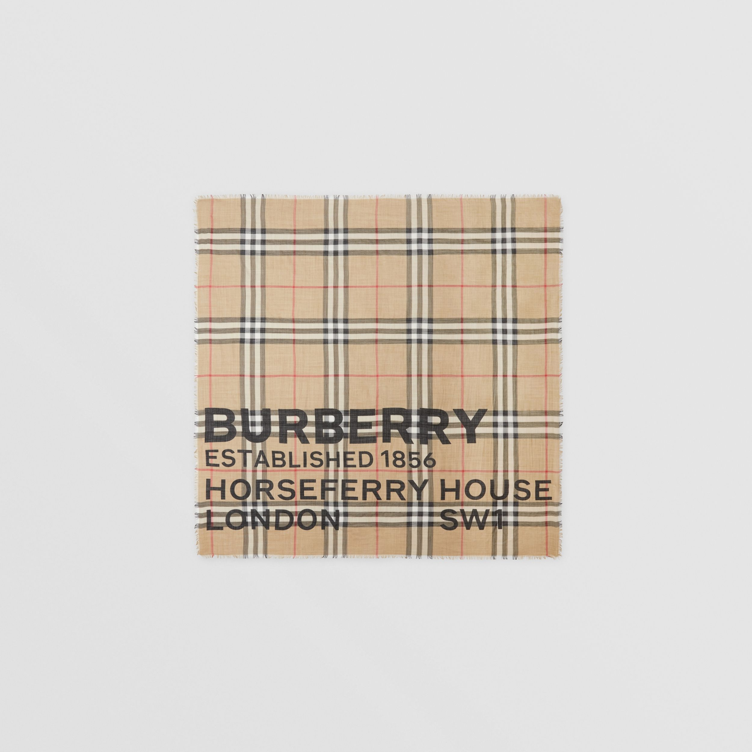 Horseferry Print Check Wool Silk Large Square Scarf in Archive Beige | Burberry United Kingdom - 1