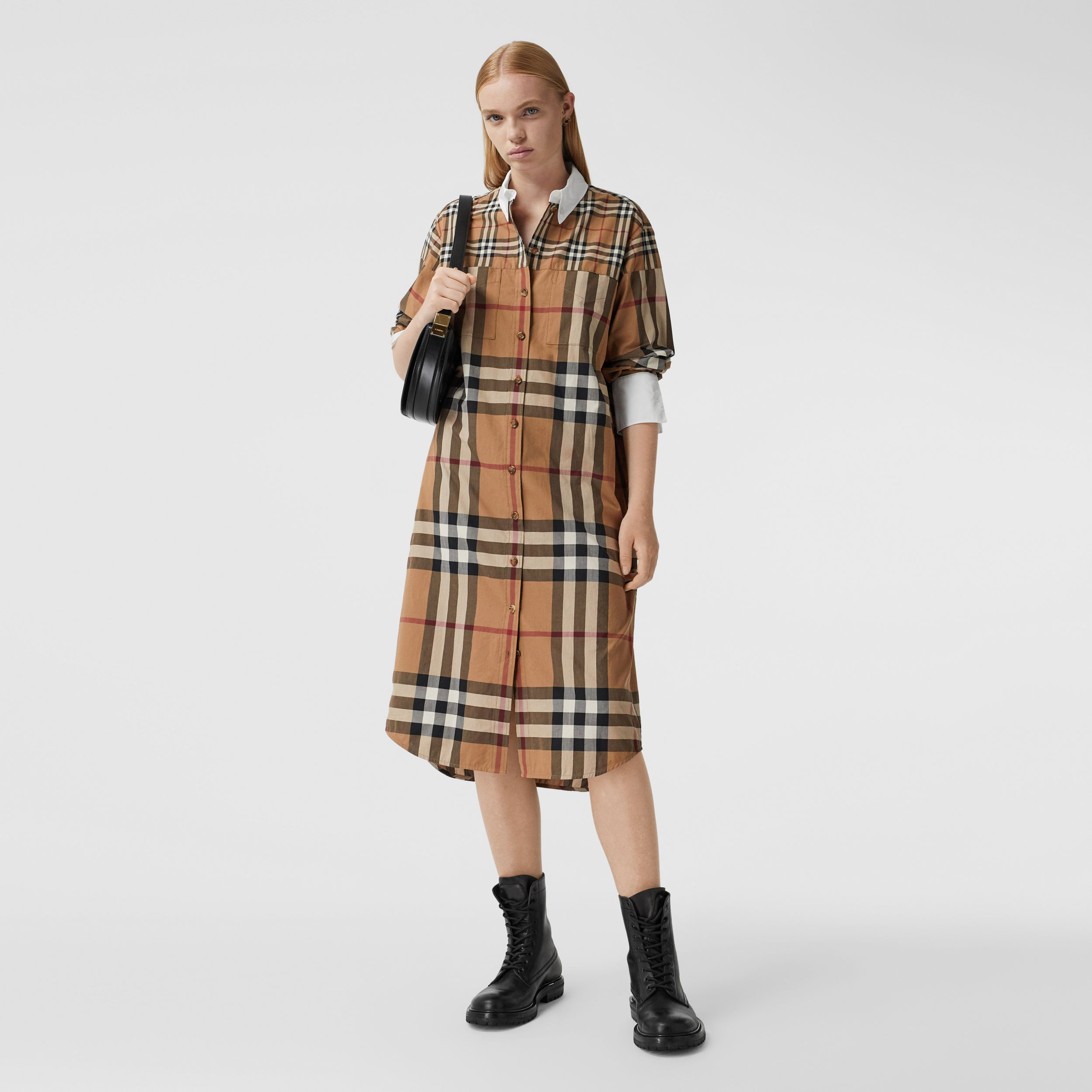 Contrast Check Cotton Oversized Shirt Dress in Birch Brown - Women | Burberry Australia - 1