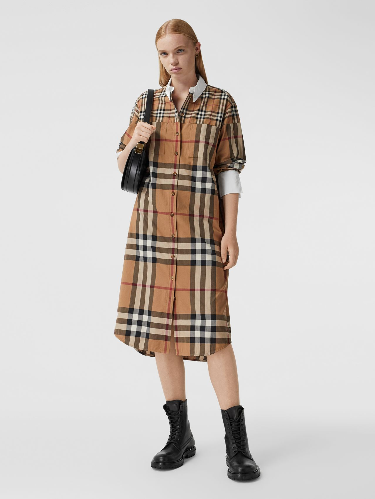 Contrast Check Cotton Oversized Shirt Dress in Birch Brown