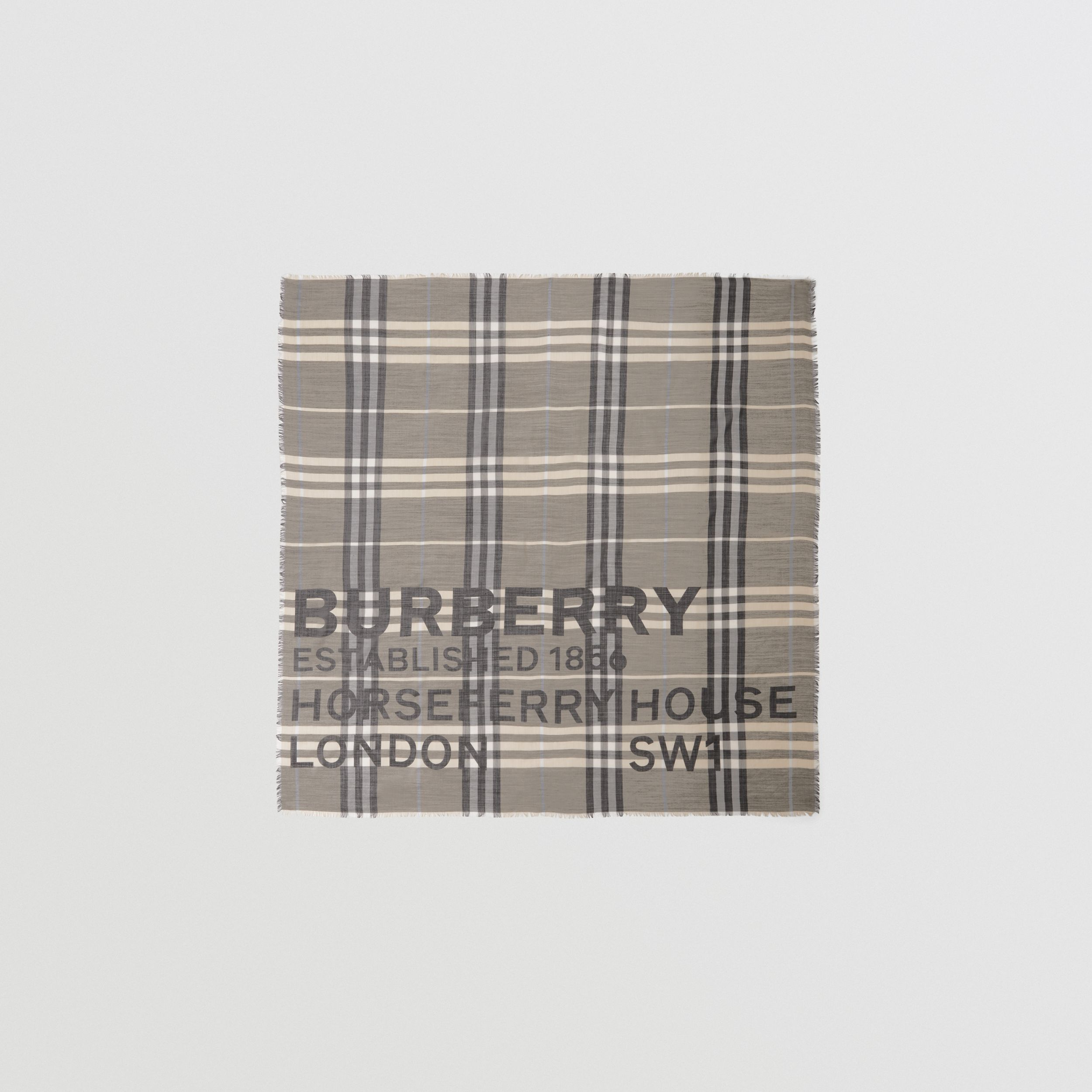 Horseferry Print Check Wool Silk Large Square Scarf in Dusty Sand | Burberry Singapore - 1