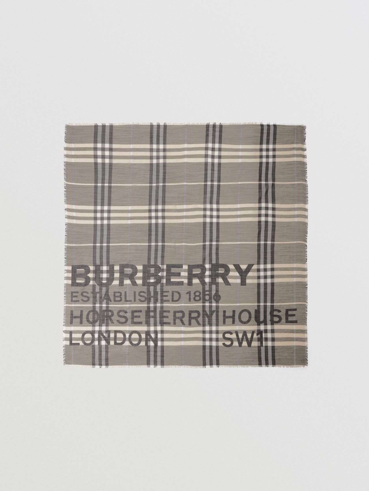 Horseferry Print Check Wool Silk Large Square Scarf in Dusty Sand