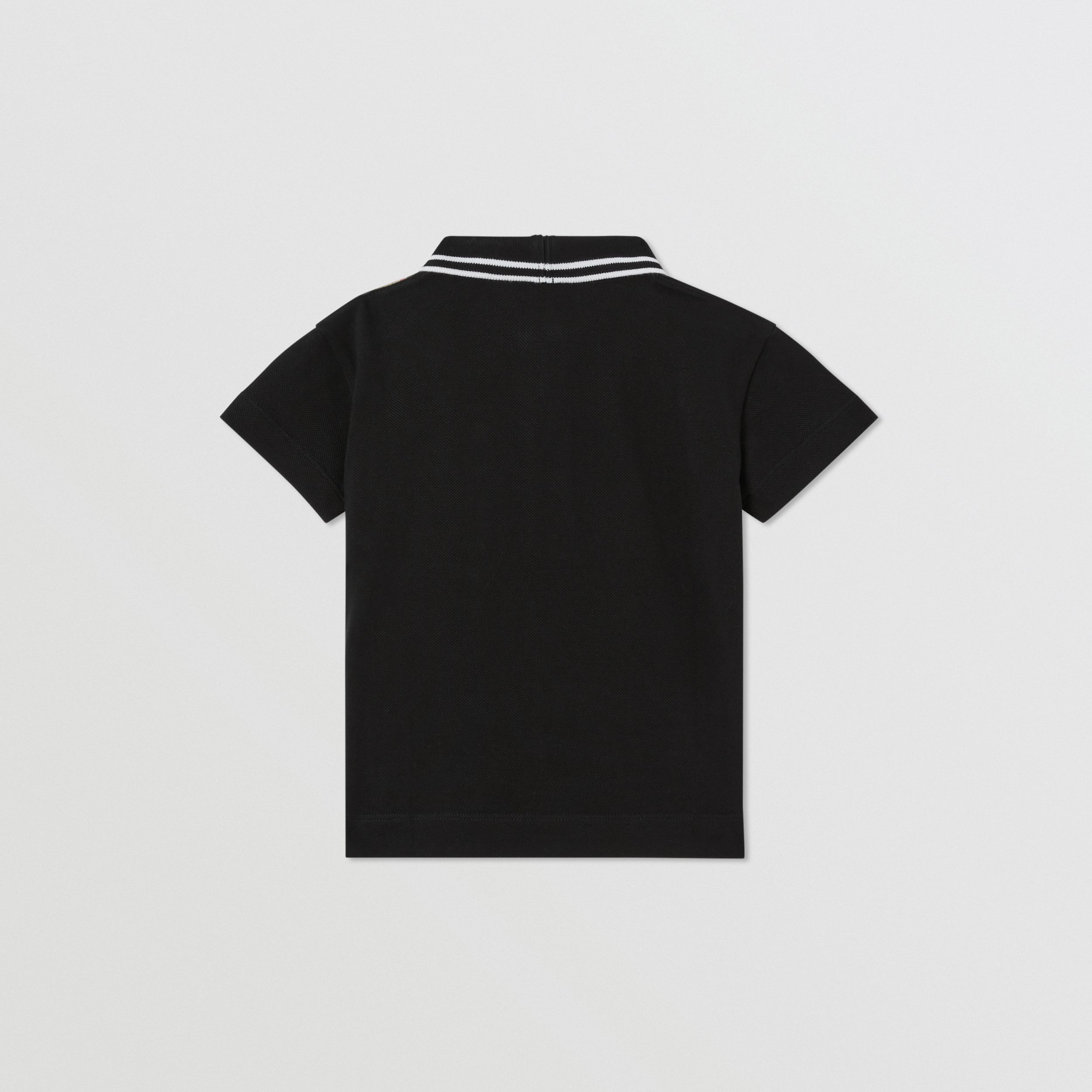 Vintage Check Panel Cotton Zip-front Polo Shirt in Black - Children | Burberry - 4