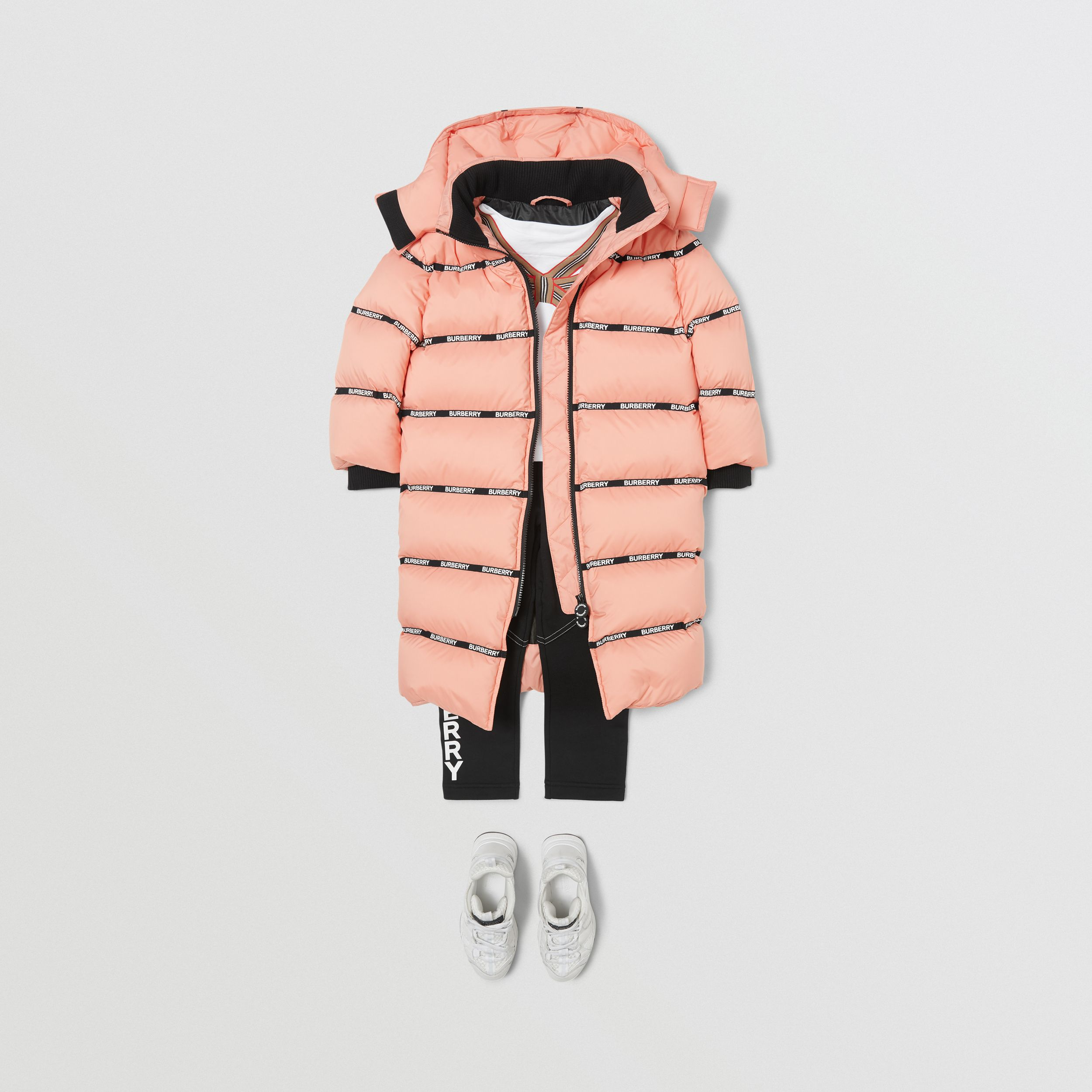 Detachable Hood Logo Tape Puffer Coat | Burberry - 3