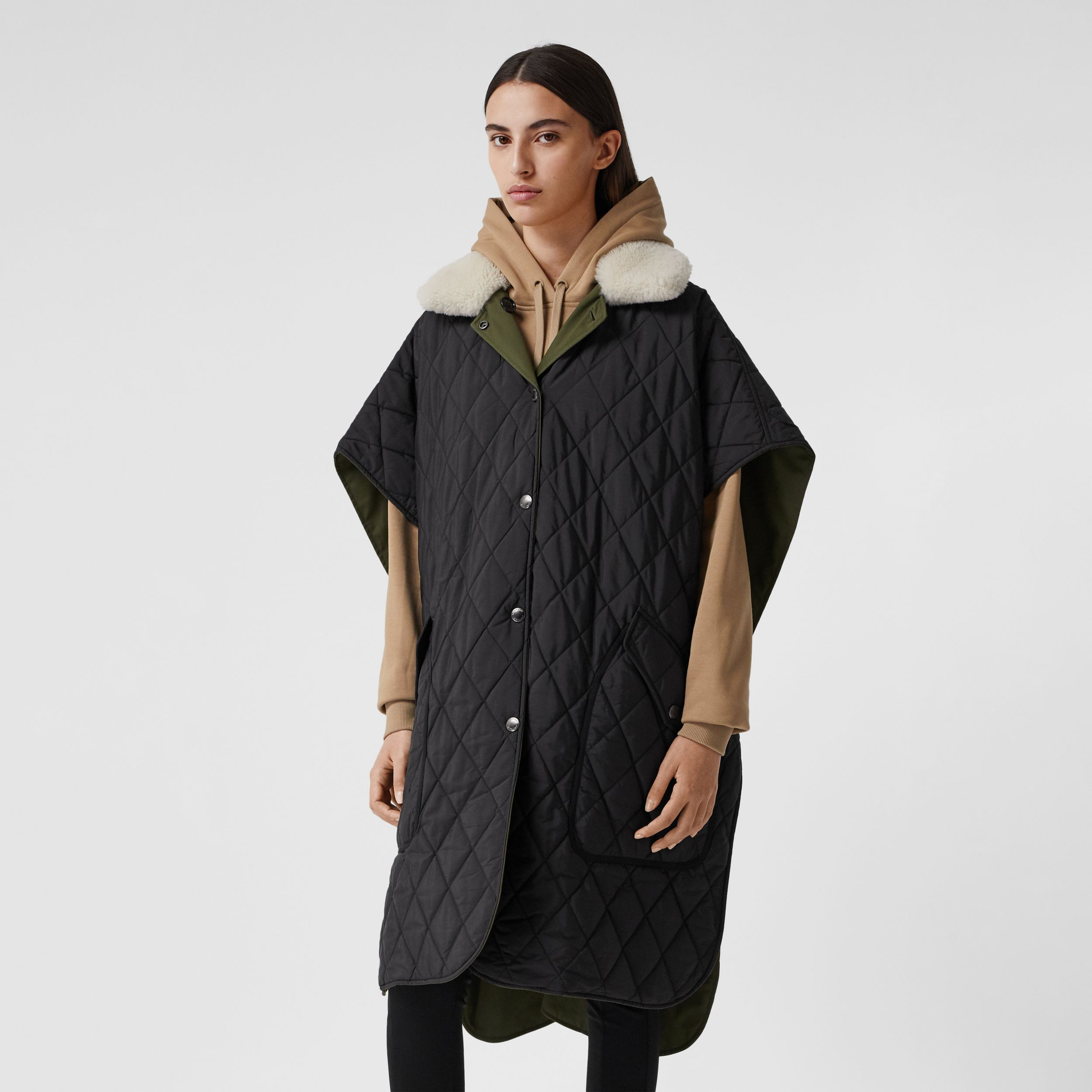 Fleece Collar Reversible Cotton Gabardine Cape in Dark Olive Green - Women | Burberry - 4