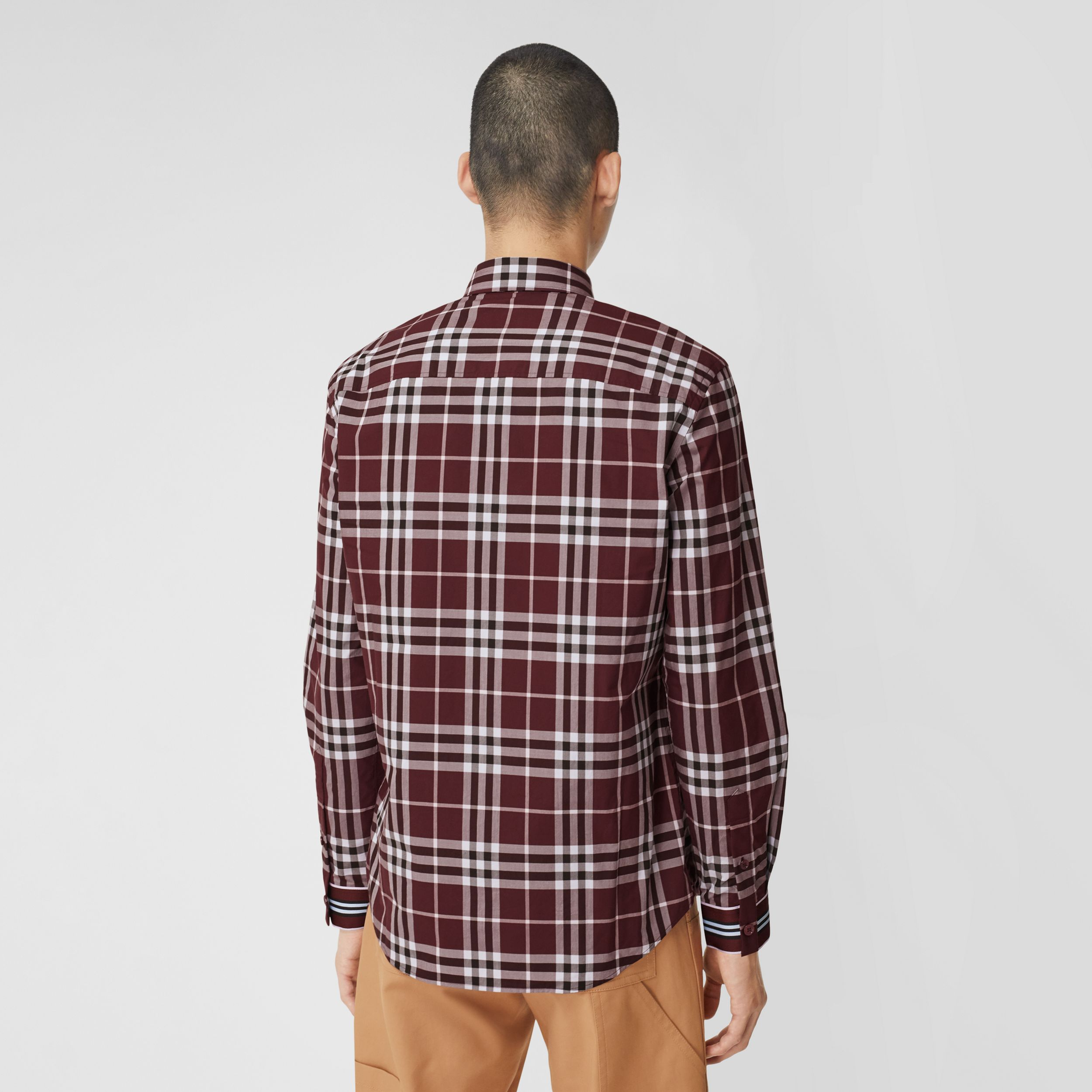 Stripe Cuff Check Cotton Shirt in Burgundy Red - Men | Burberry - 3