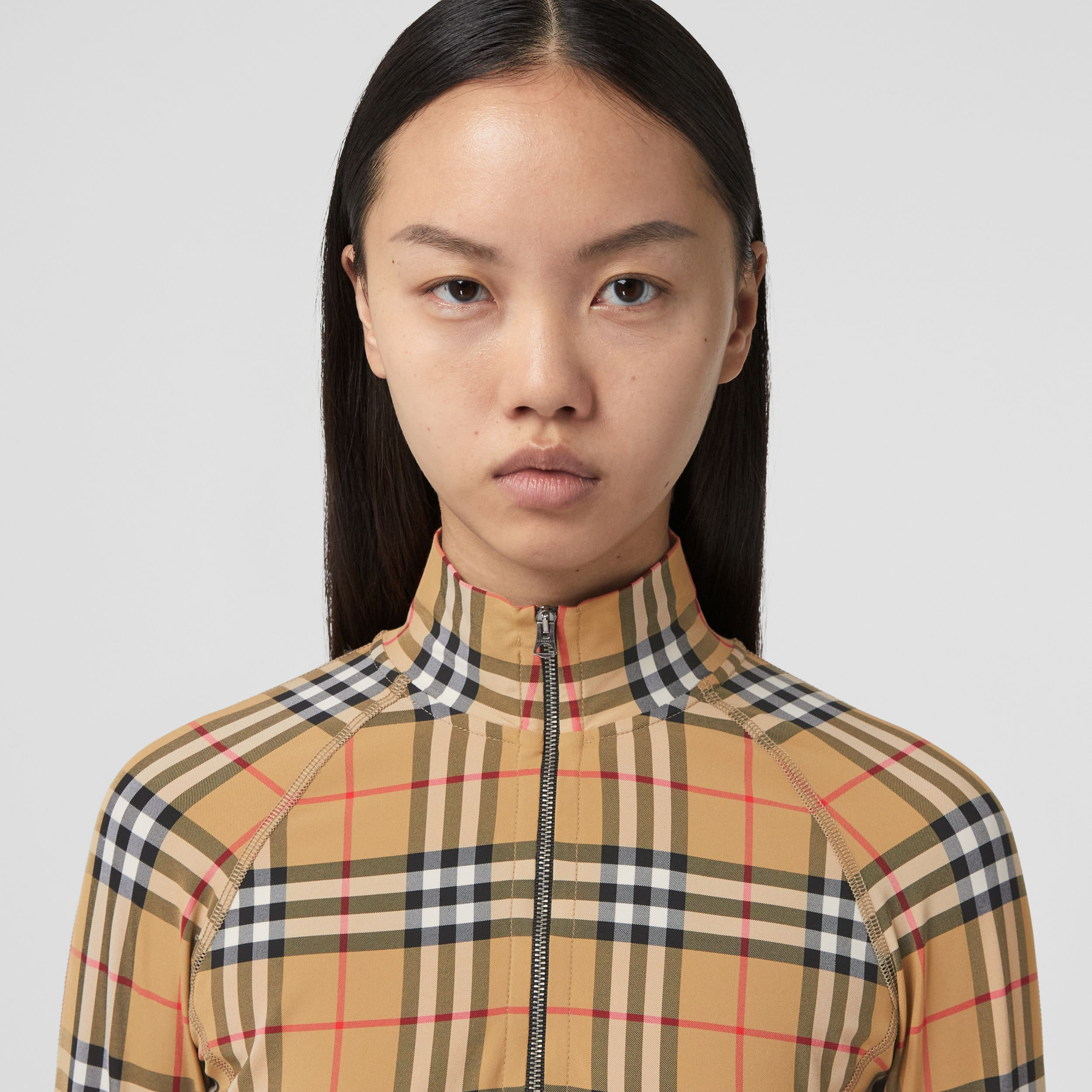 Vintage Check Stretch Jersey Turtleneck Top in Archive Beige - Women | Burberry Australia - 2
