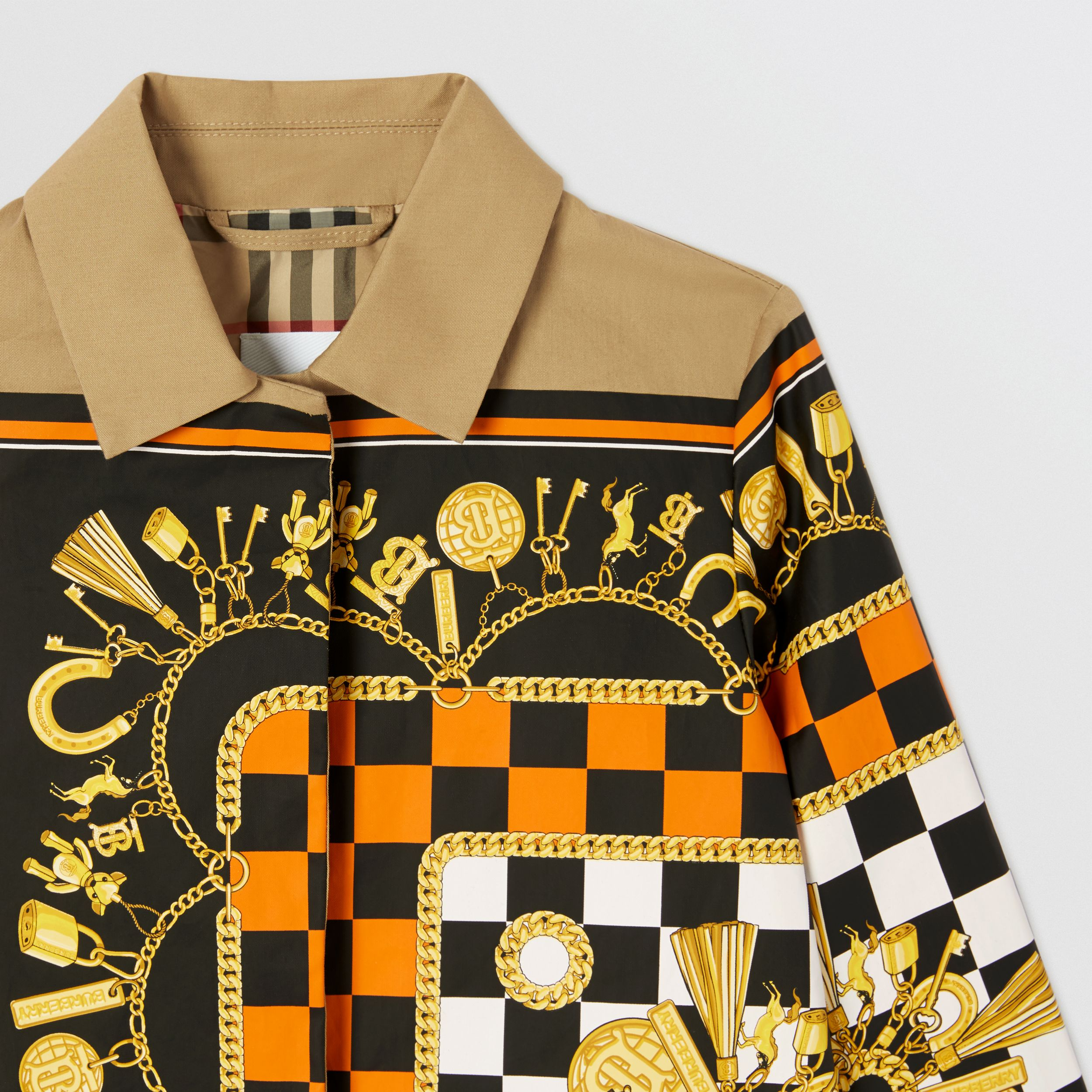 Scarf Print Cotton Twill Car Coat in Honey | Burberry - 3