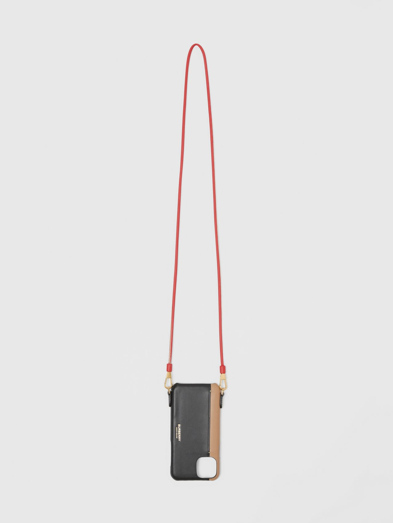 Two-tone Leather iPhone 11 Pro Case Lanyard in Black/camel