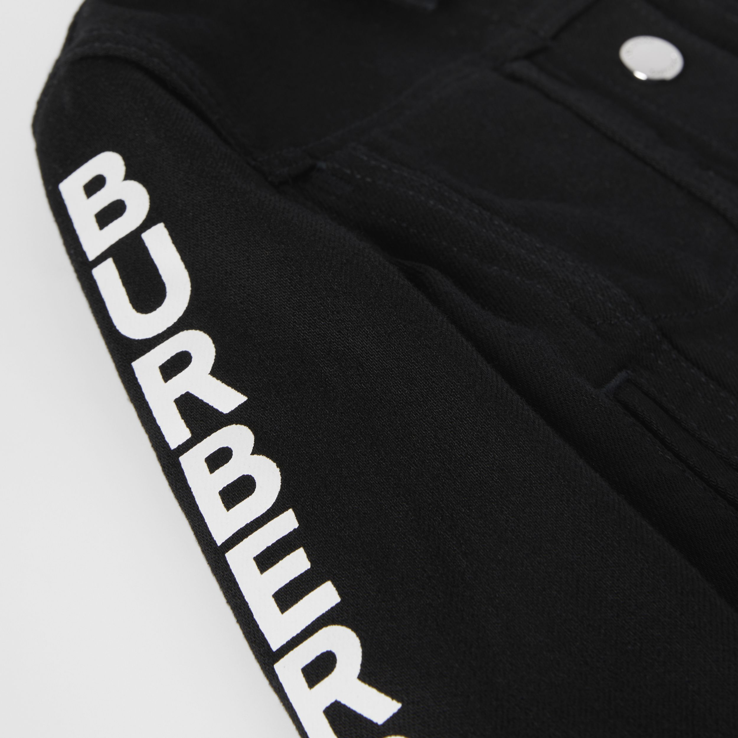 Logo Print Japanese Denim Jacket in Black - Children | Burberry - 2