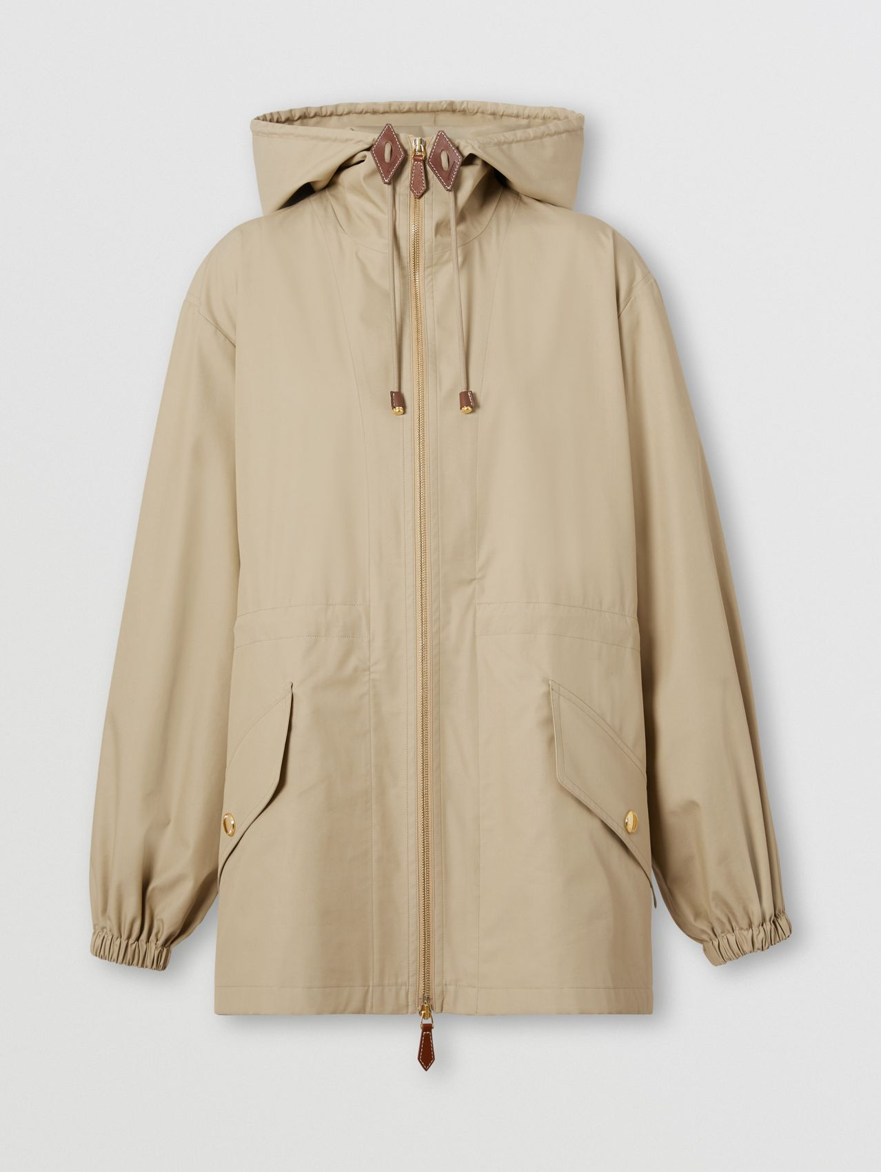 Technical Cotton Lightweight Hooded Jacket in Honey