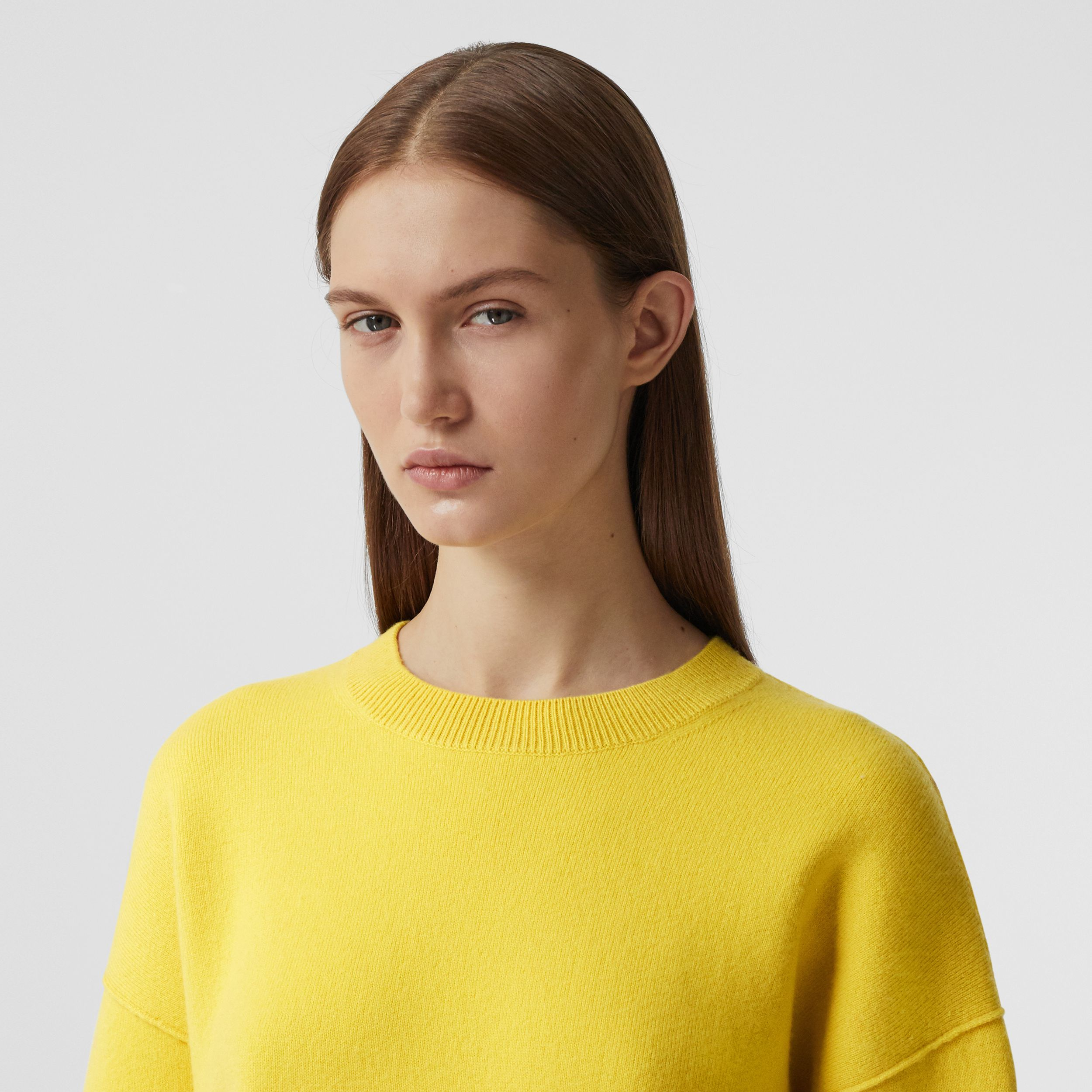 Monogram Motif Cashmere Blend Sweater in Bright Yellow - Women | Burberry - 2