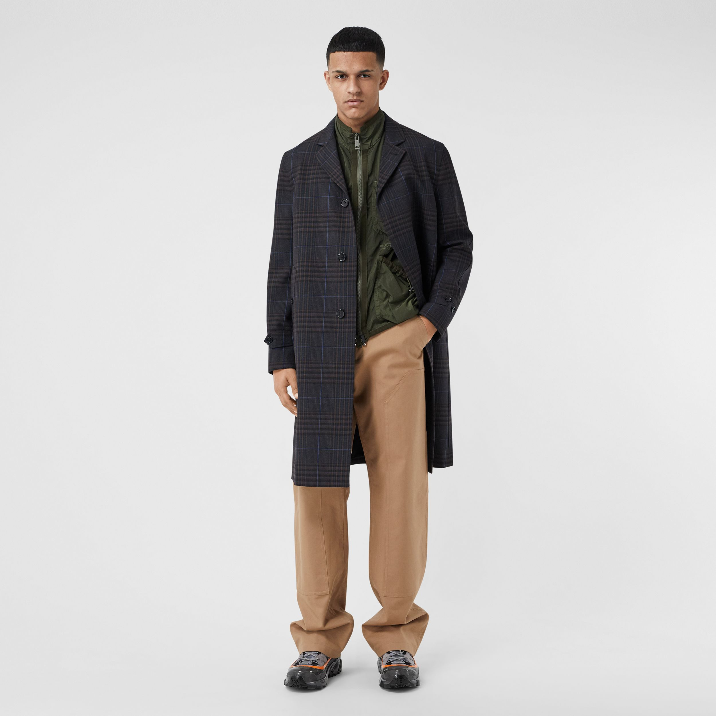 Check Wool Car Coat - Men | Burberry - 1