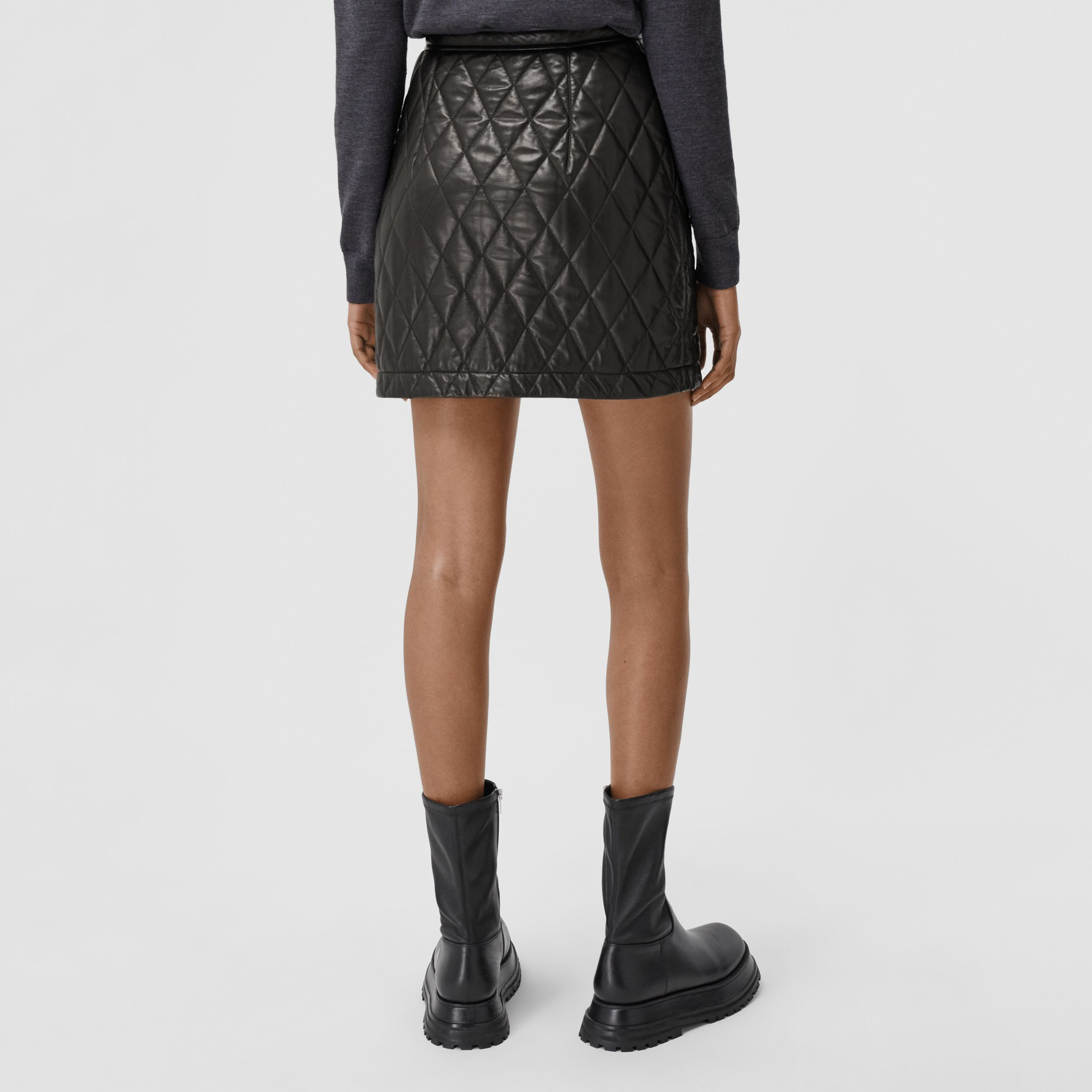 Diamond Quilted Lambskin Mini Skirt in Black - Women | Burberry - 3