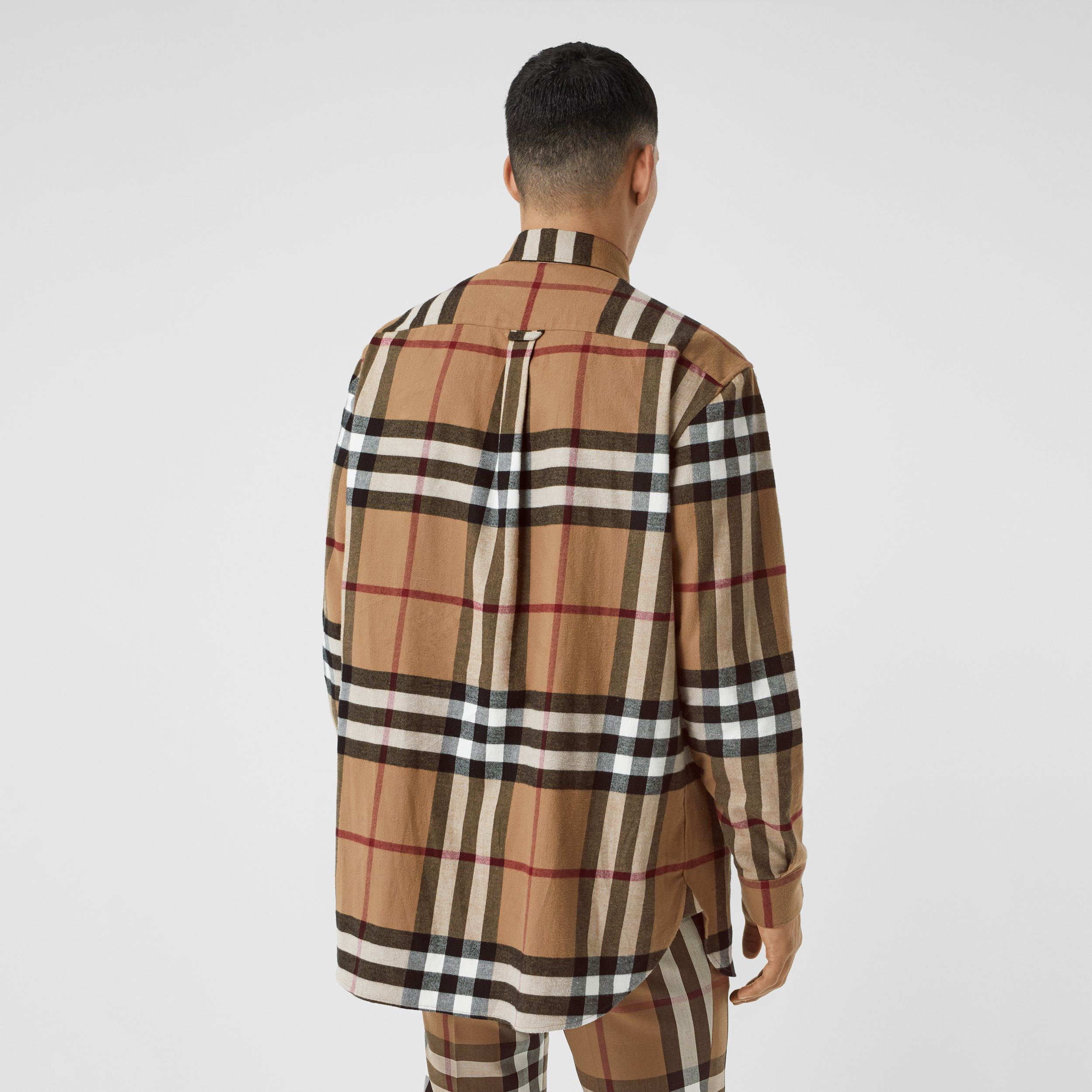 Relaxed Fit House Check Cotton Flannel Shirt in Birch Brown | Burberry - 3