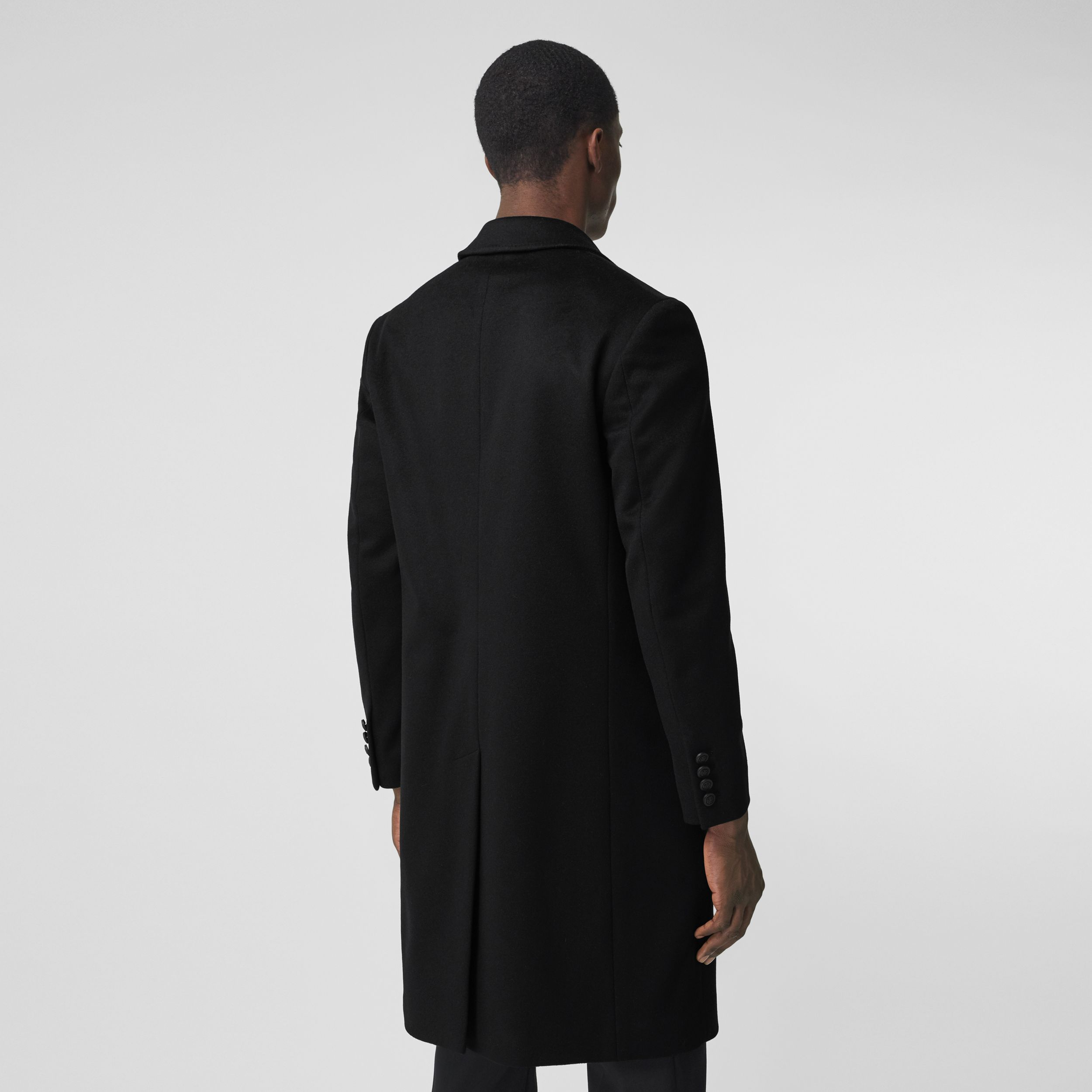 Button Detail Wool Cashmere Tailored Coat in Black - Men | Burberry Canada - 3