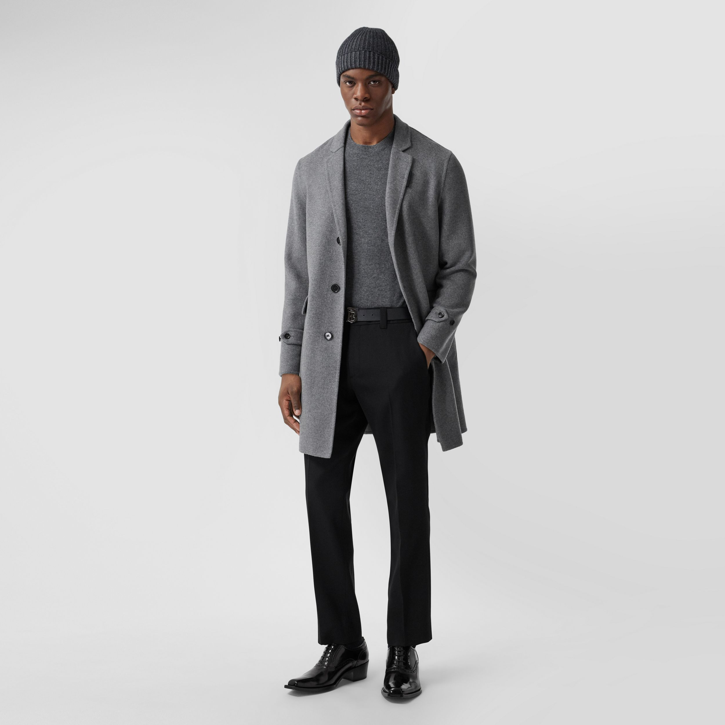 Wool Cashmere Lab Coat in Charcoal - Men | Burberry - 1