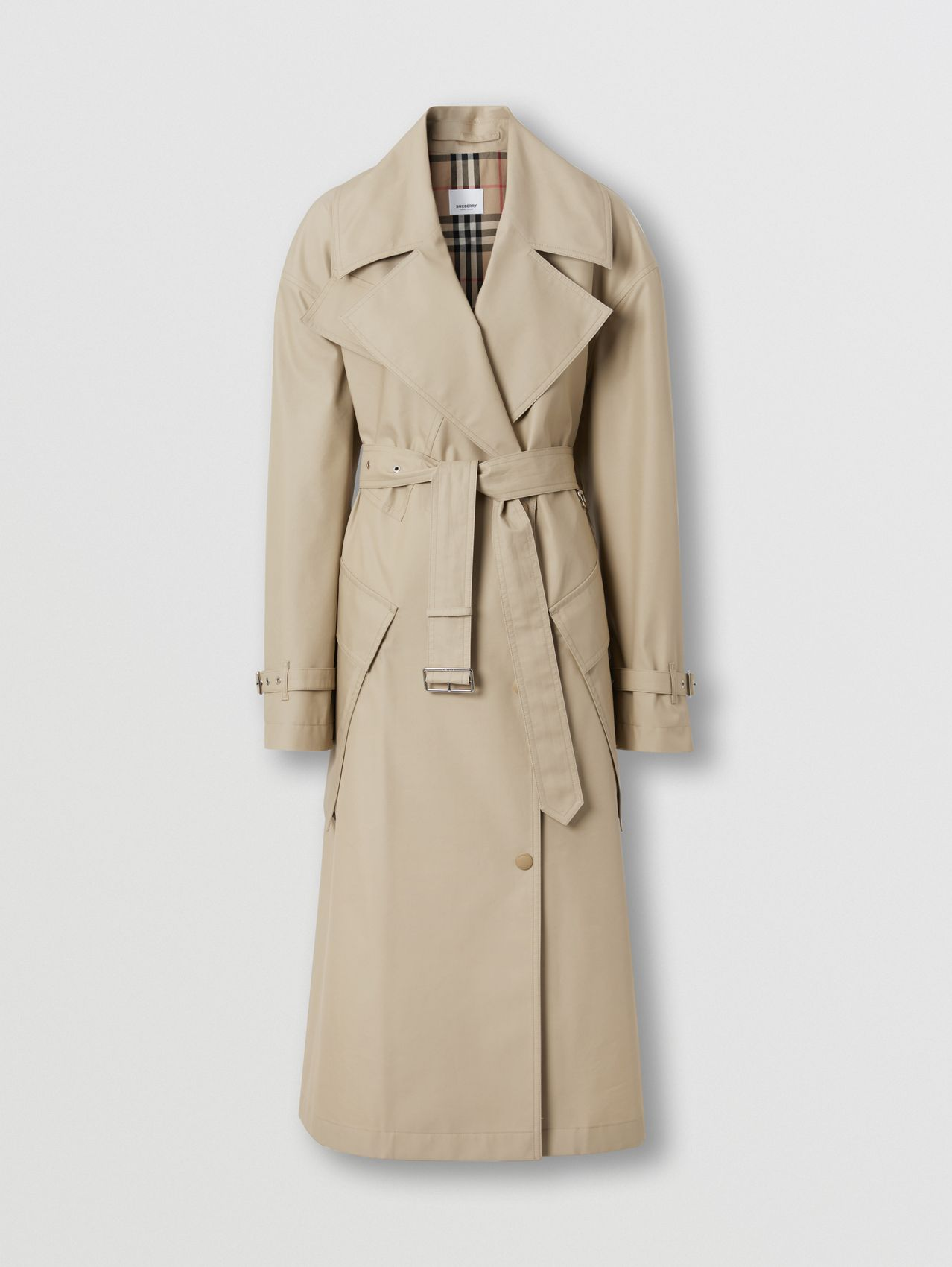 Pocket Detail Technical Cotton Belted Coat in Honey