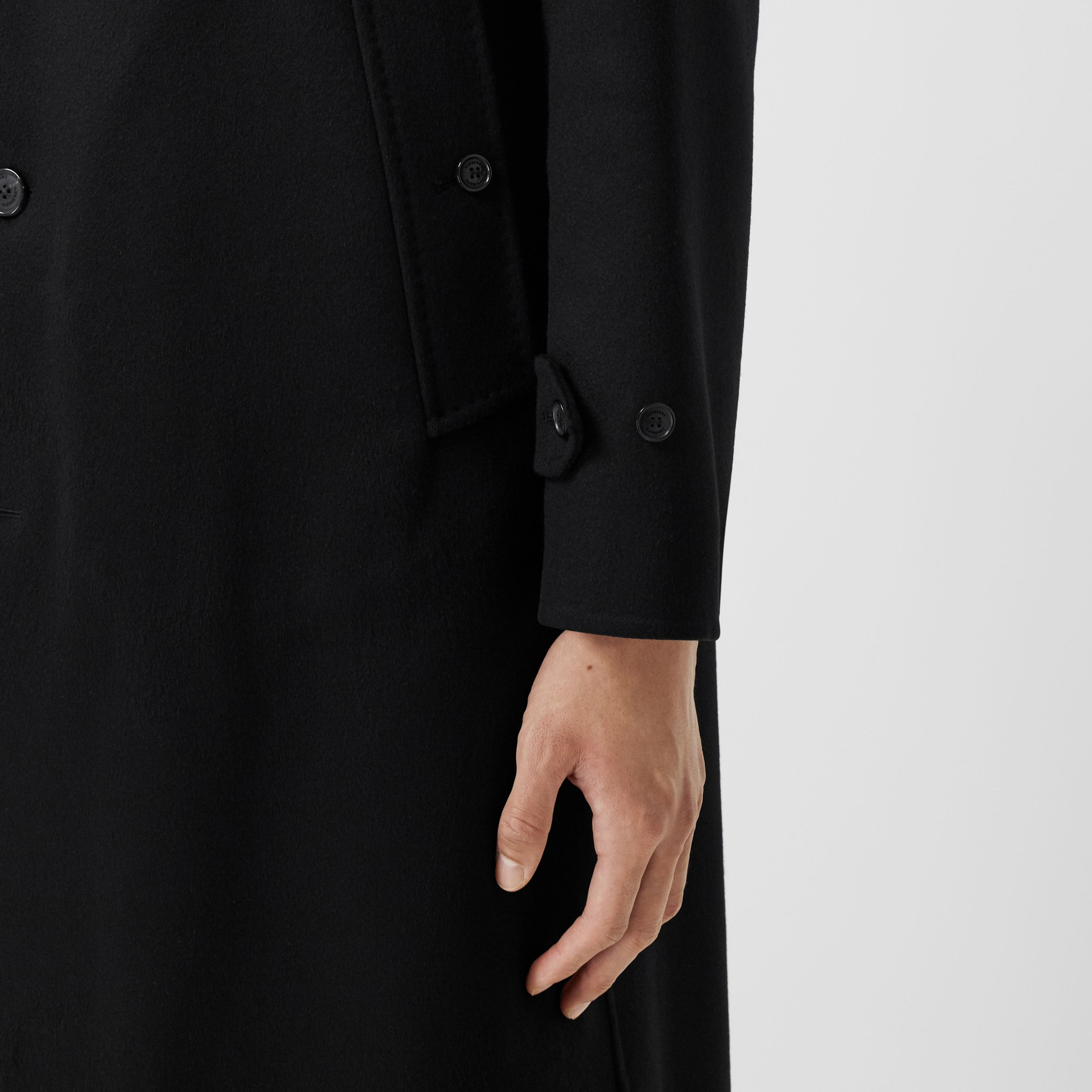 Monogram Detail Double-faced Cashmere Car Coat in Black - Men | Burberry - 4