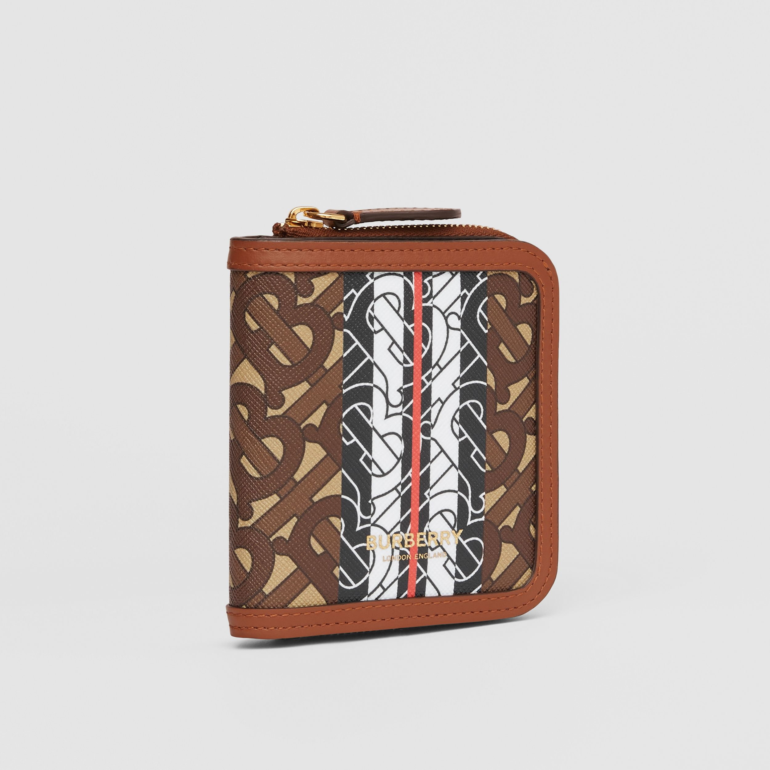 Monogram Stripe E-canvas and Leather Folding Wallet in Bridle Brown - Women | Burberry - 4