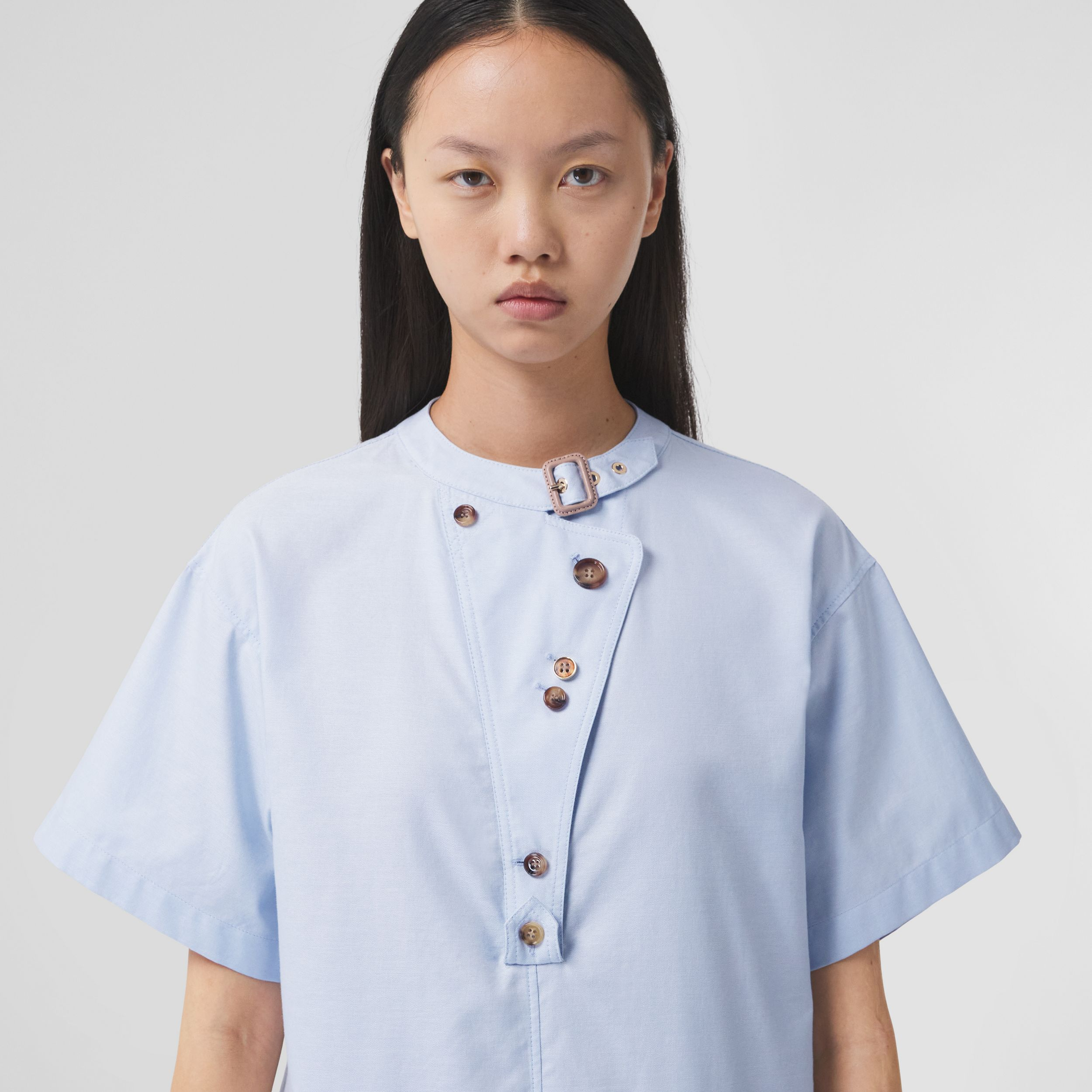 Short-sleeve Cotton Oxford Smock Dress in Pale Blue - Women | Burberry - 2