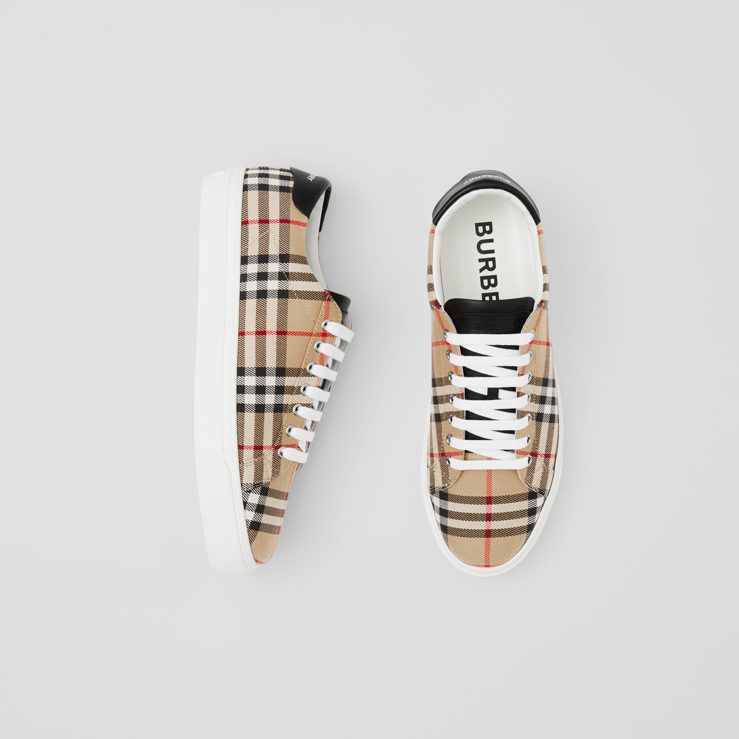 Bio-based Sole Vintage Check and Leather Sneakers in Archive Beige - Men | Burberry - 1