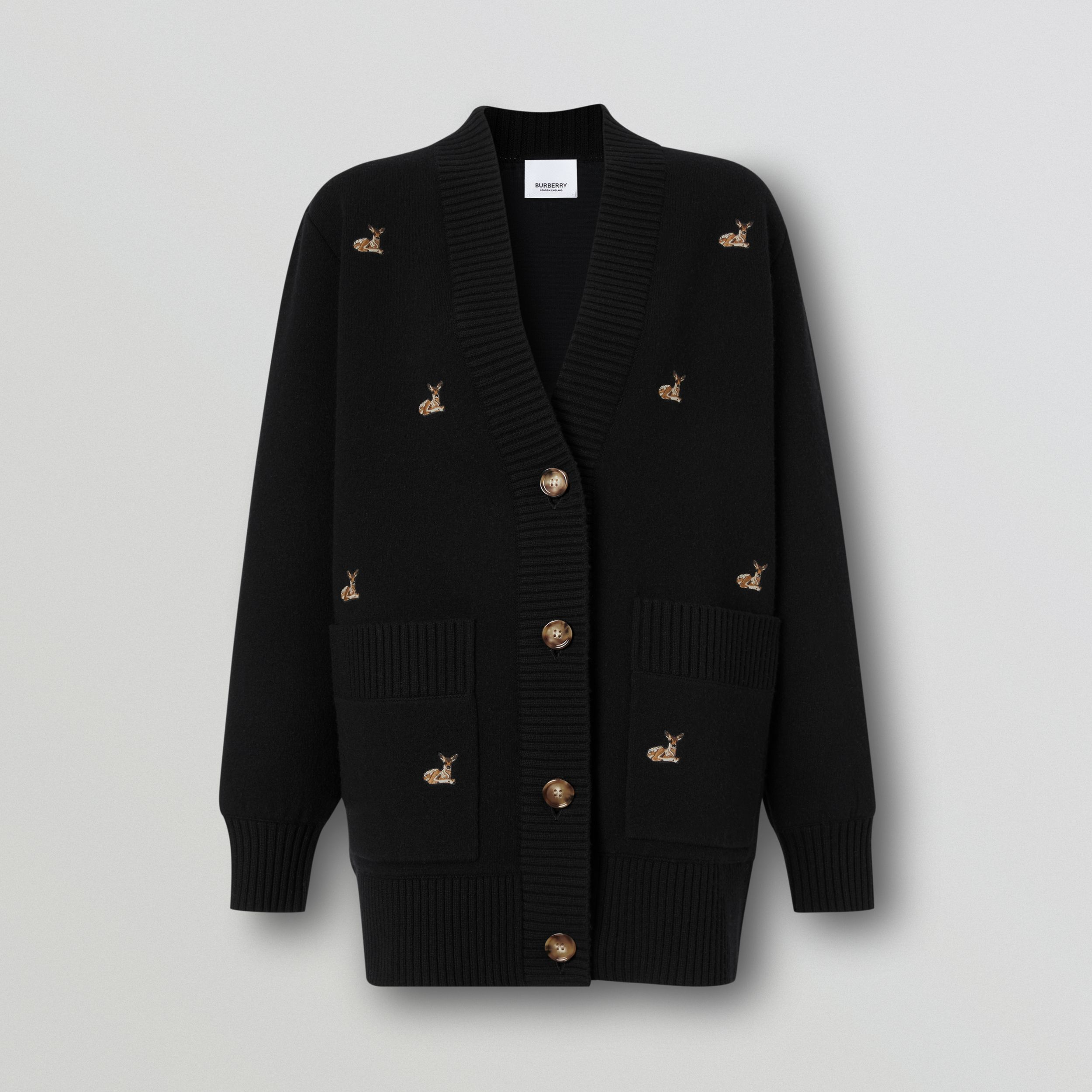 Deer Motif Wool Cashmere Blend Oversized Cardigan in Black - Women | Burberry - 4