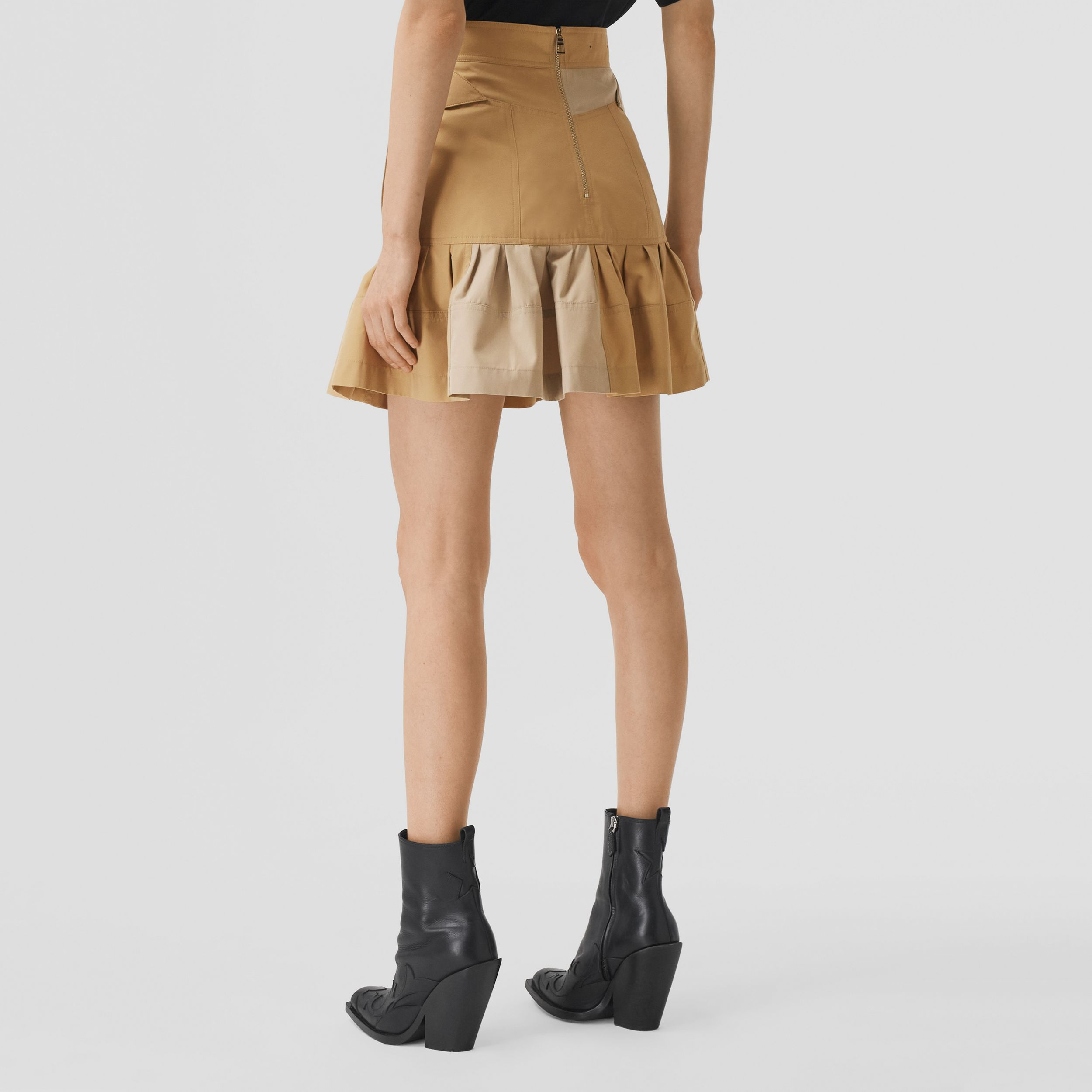 Fluted Two-tone Cotton Gabardine A-line Skirt in Honey - Women | Burberry - 3