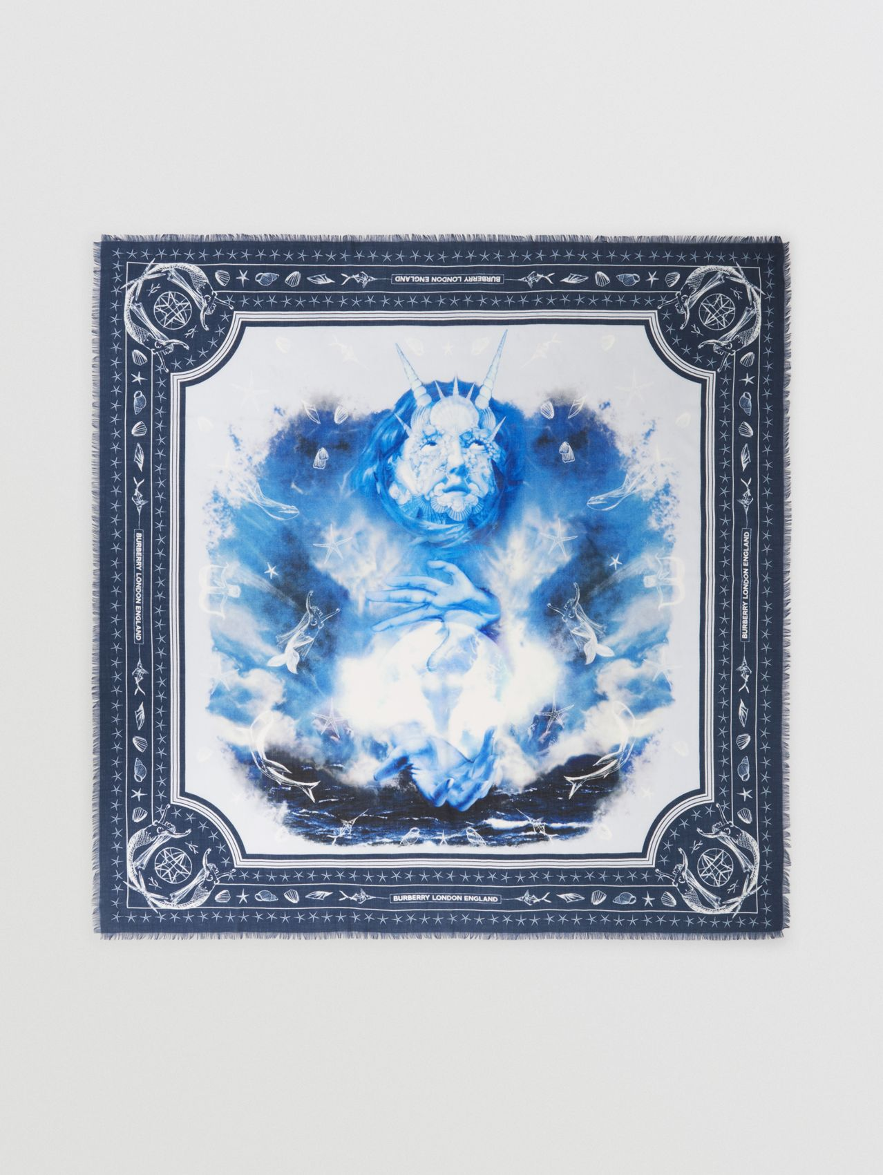Sea Maiden Print Cashmere Large Square Scarf in Ink Blue
