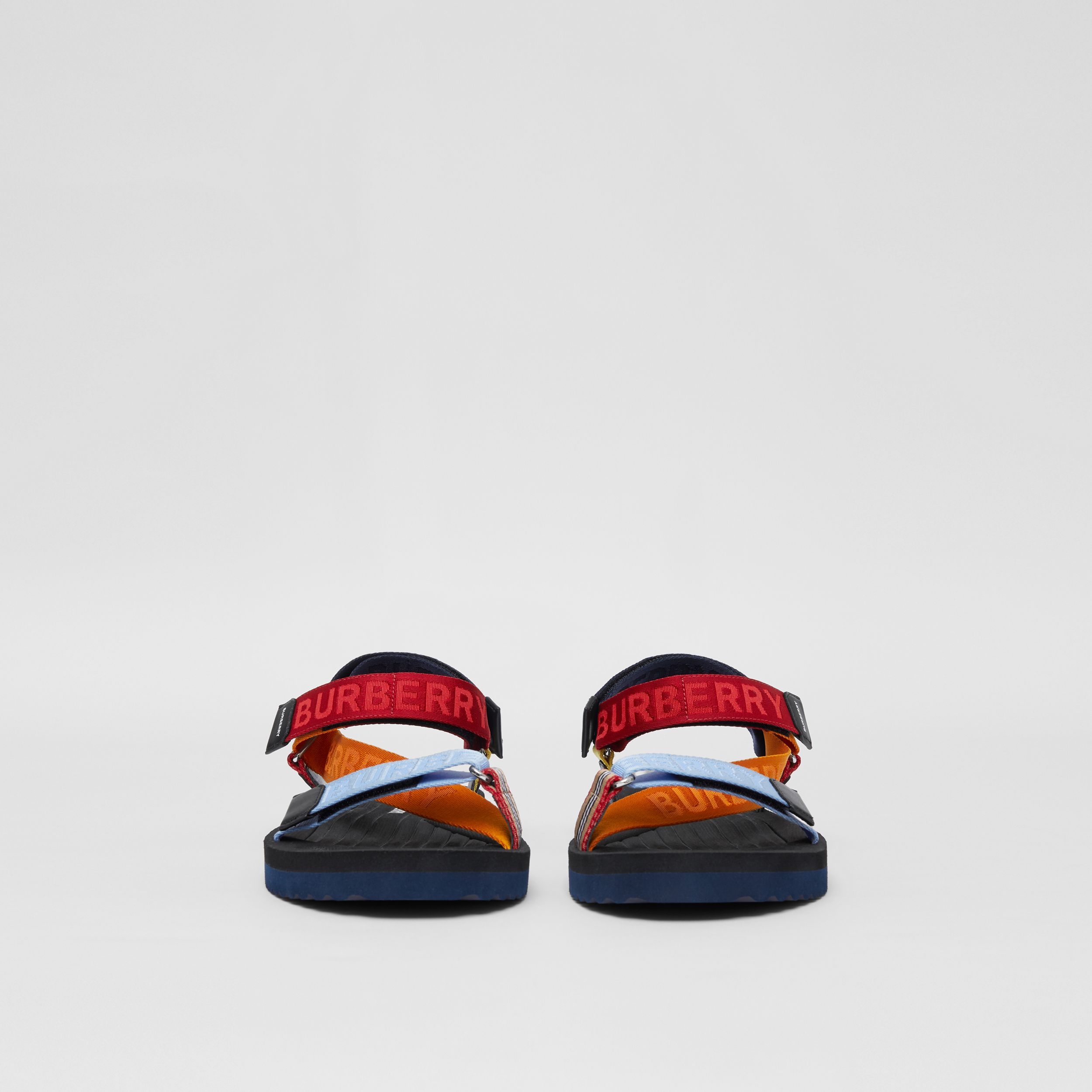 Logo Jacquard Sandals in Bright Red/orange - Men | Burberry United Kingdom - 3
