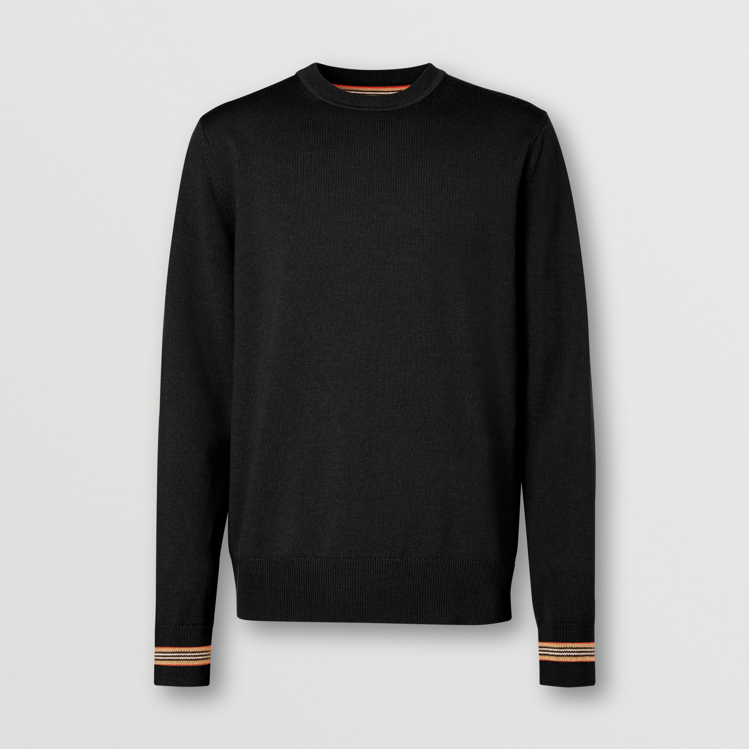 Icon Stripe Trim Merino Wool Sweater in Black - Men | Burberry - 4