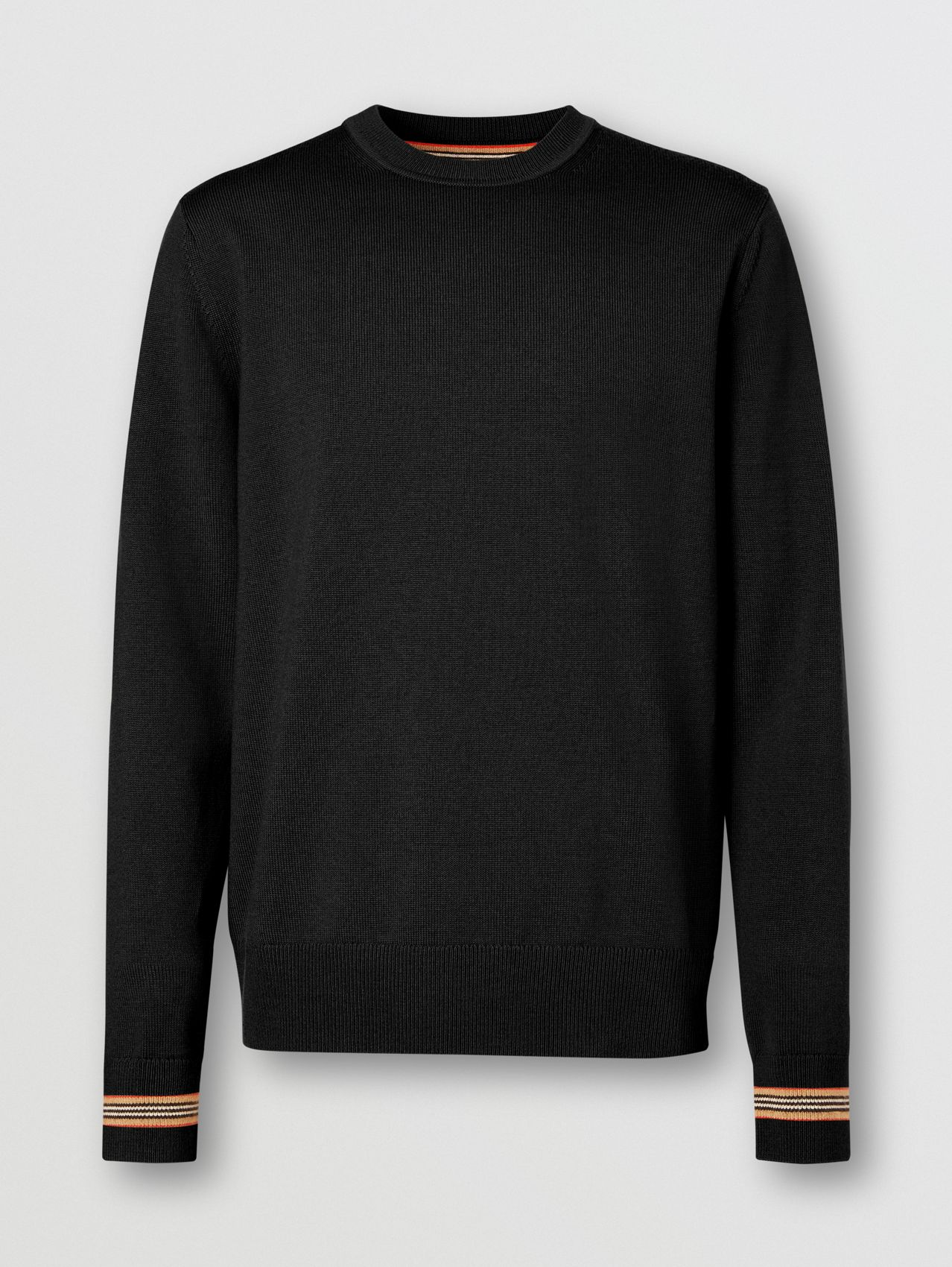 Icon Stripe Trim Merino Wool Sweater in Black