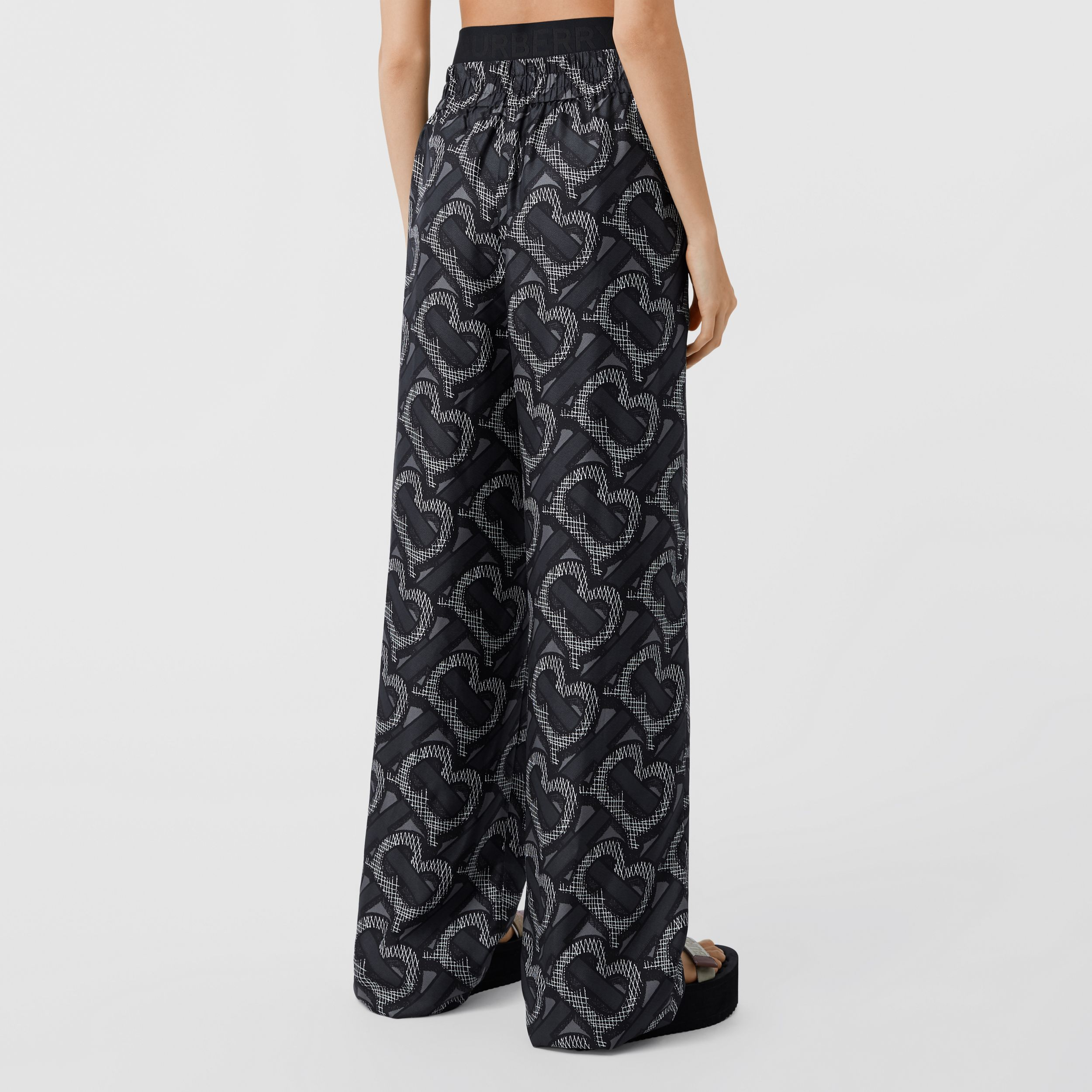 Monogram Print Silk Twill Wide-leg Trousers in Graphite - Women | Burberry - 3