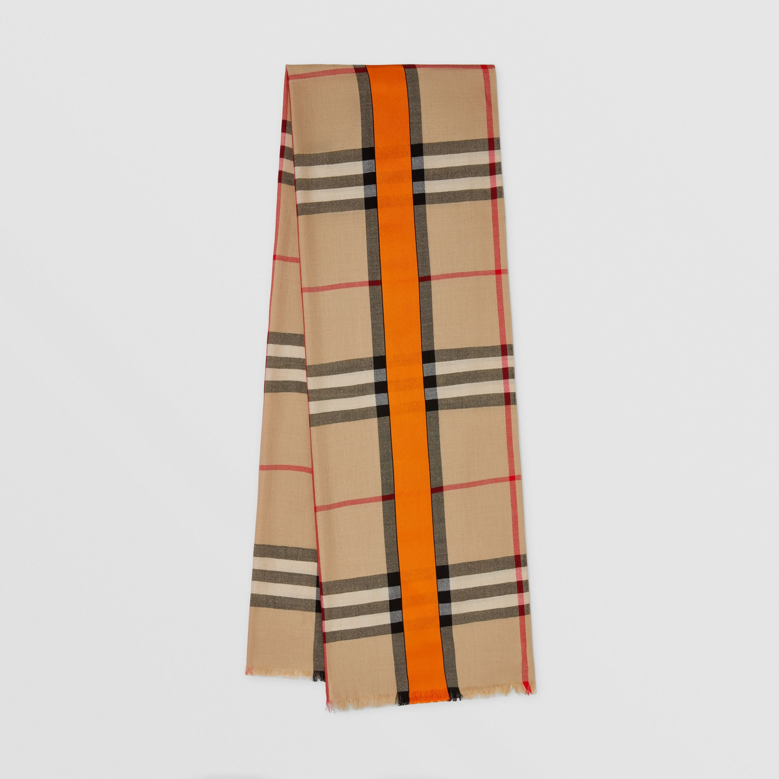 Lightweight Check Cashmere and Silk Scarf in Archive Beige | Burberry - 1