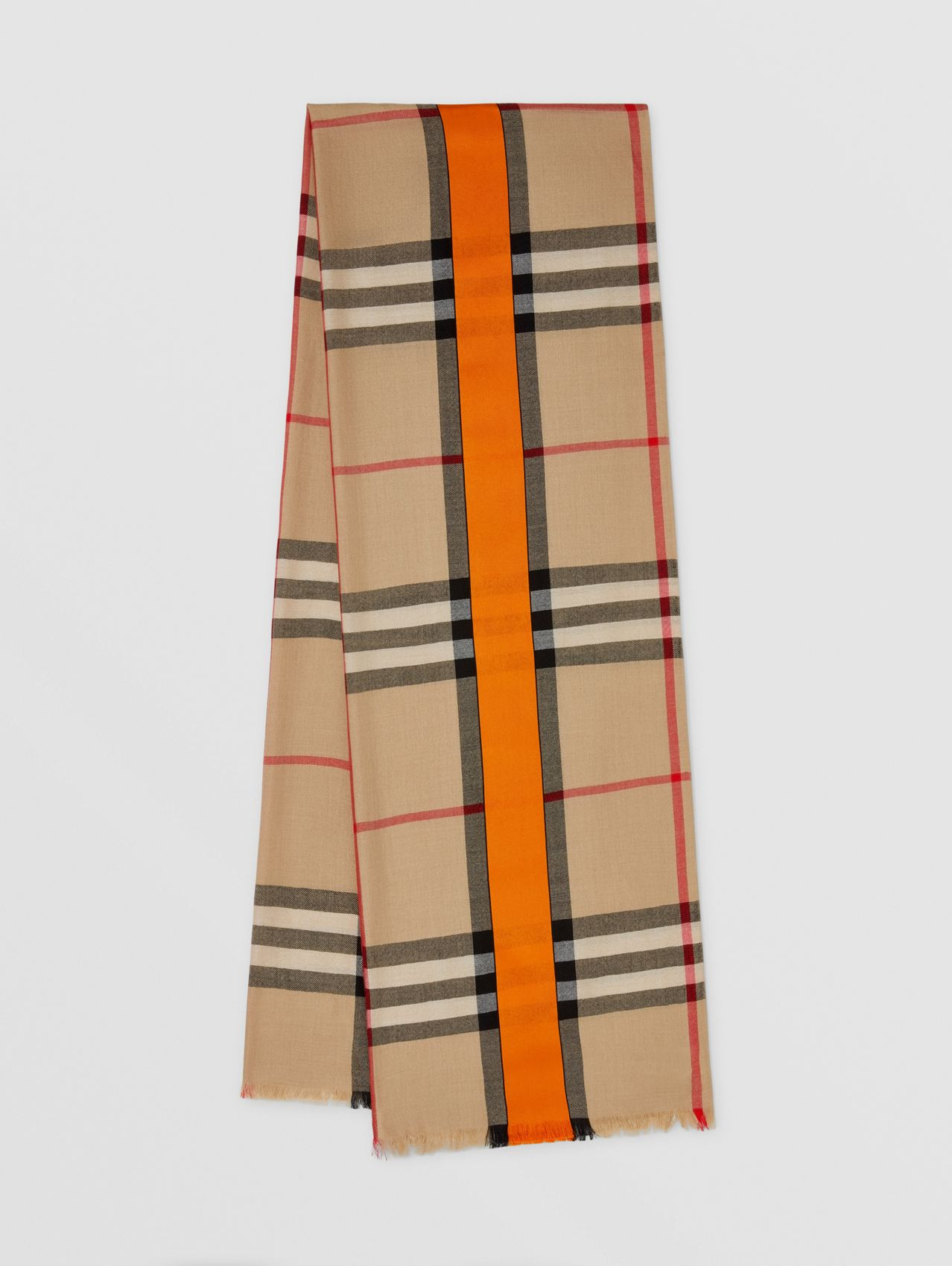 Lightweight Check Cashmere and Silk Scarf in Archive Beige