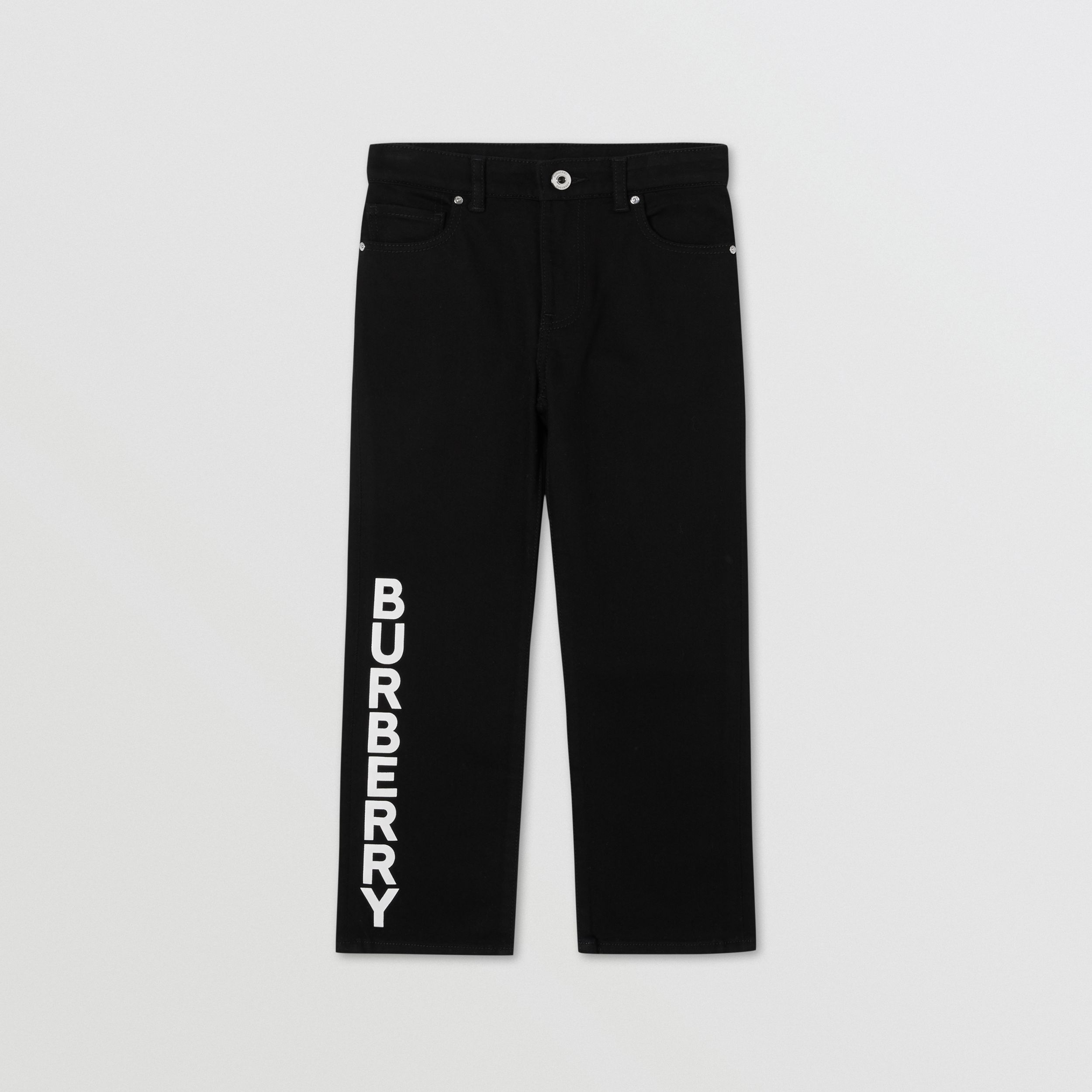 Logo Print Japanese Denim Jeans in Black | Burberry - 1