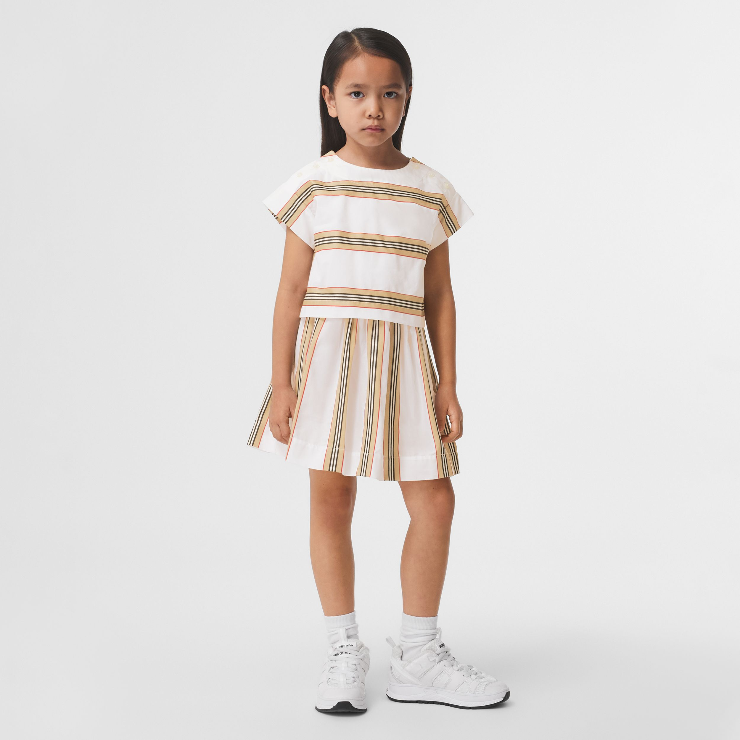 Icon Stripe Cotton Two-piece Set in White | Burberry - 3