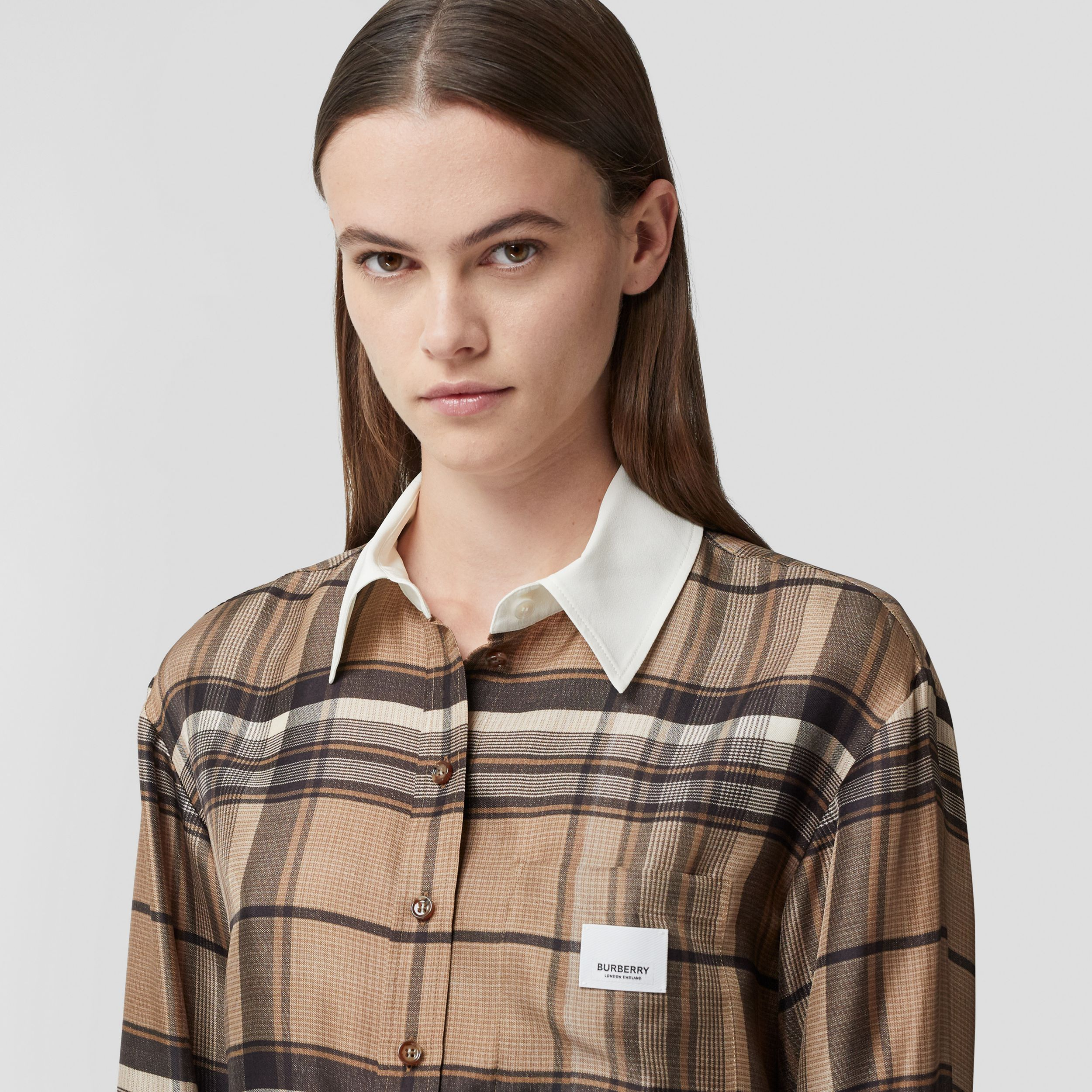 Logo Appliqué Check Print Silk Twill Shirt in Dark Tan - Women | Burberry - 2